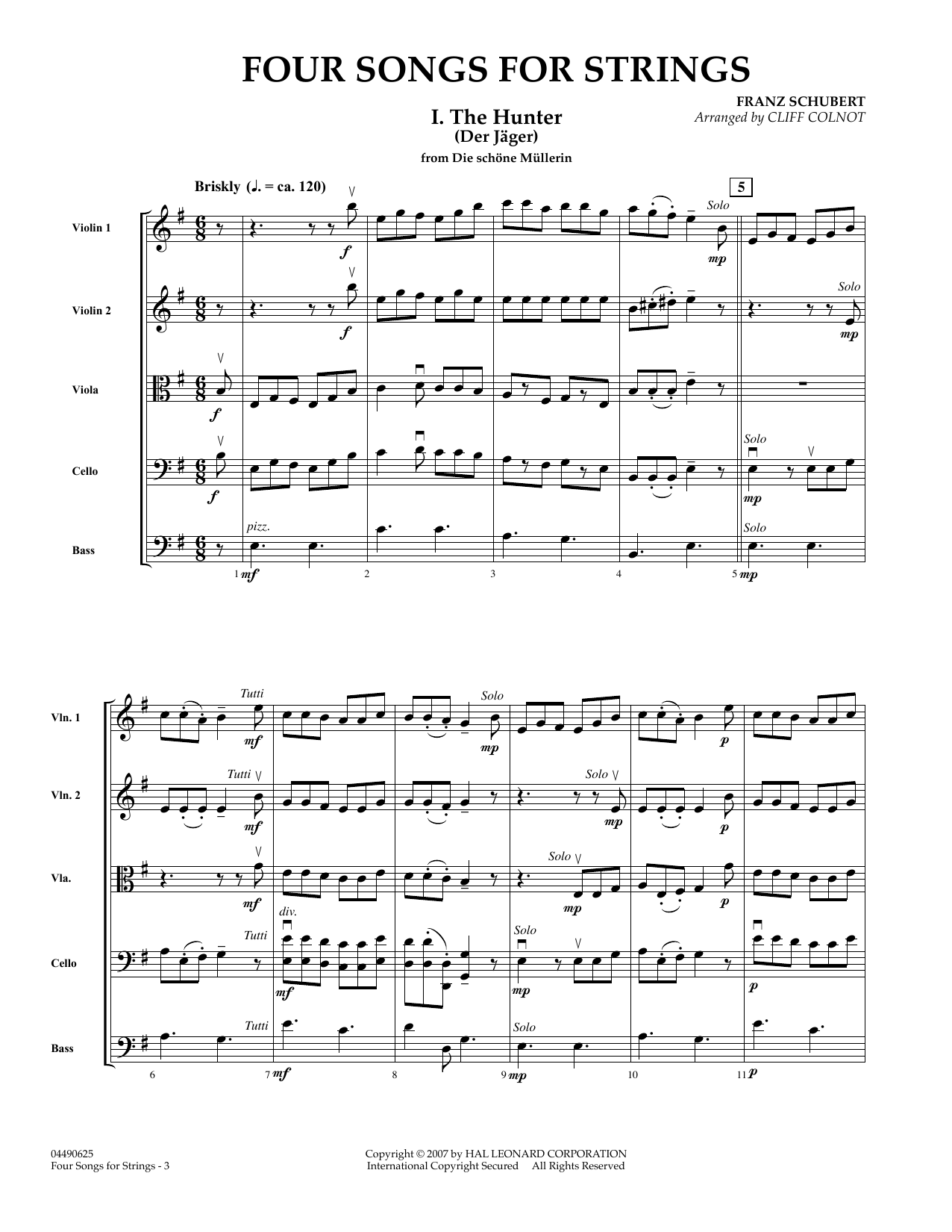 Four Songs for Strings (COMPLETE) sheet music for orchestra by Franz Schubert and Cliff Colnot. Score Image Preview.