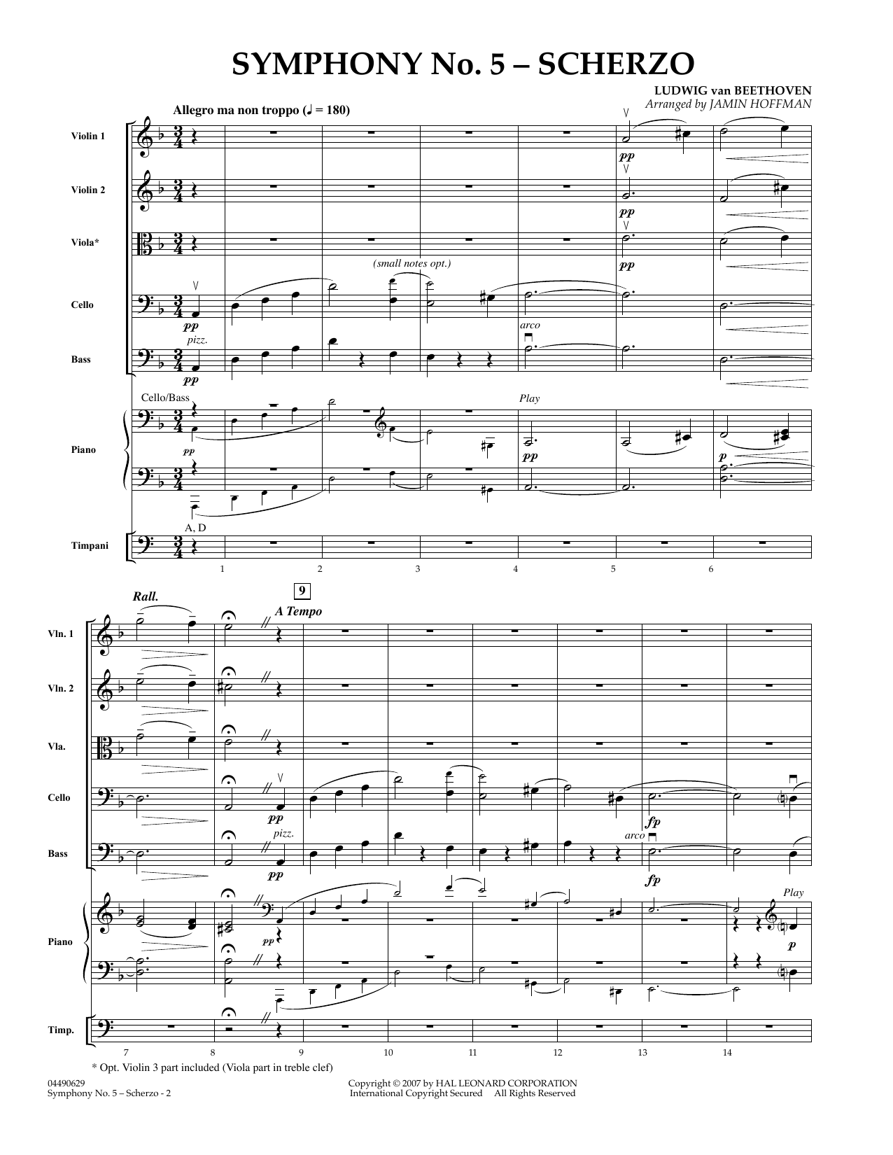 Symphony No. 5 Scherzo (COMPLETE) sheet music for orchestra by Jamin Hoffman and Ludwig van Beethoven. Score Image Preview.