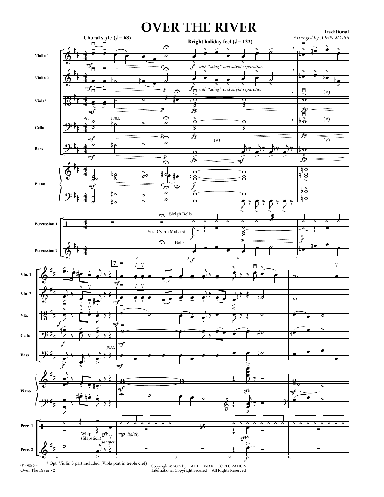 Over The River (COMPLETE) sheet music for orchestra by John Moss. Score Image Preview.