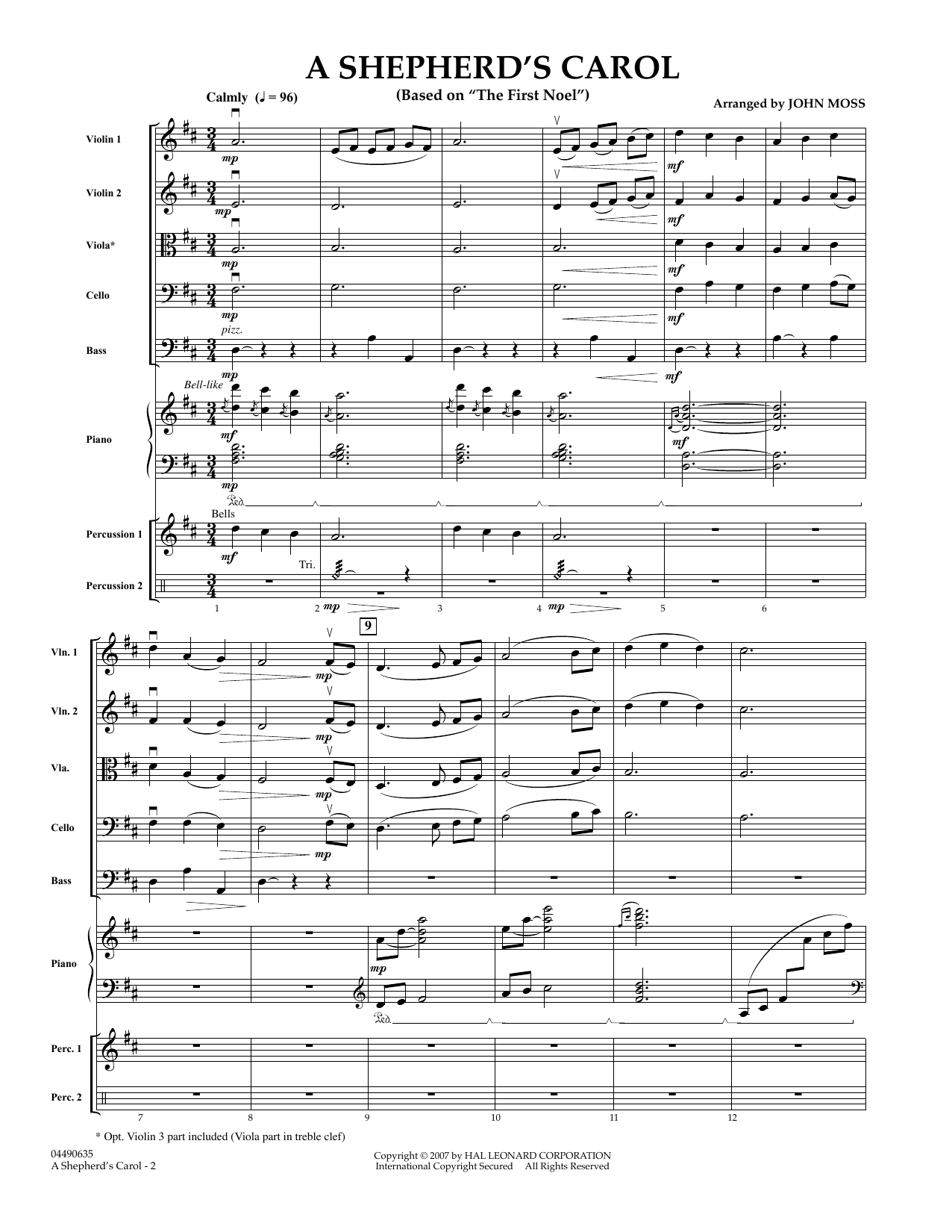 A Shepherd's Carol (COMPLETE) sheet music for orchestra by John Moss. Score Image Preview.