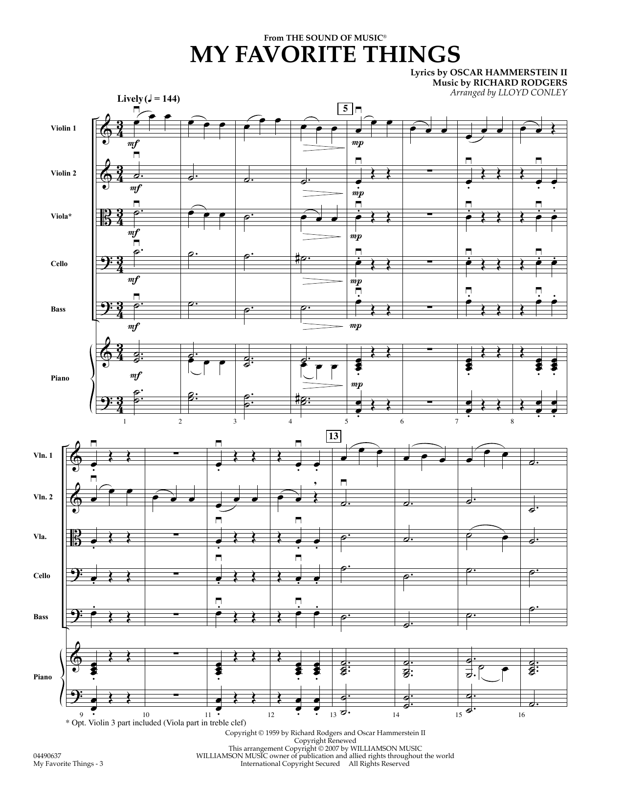 My Favorite Things (COMPLETE) sheet music for orchestra by Richard Rodgers, Chicago, Lloyd Conley, Lorrie Morgan and Oscar II Hammerstein. Score Image Preview.