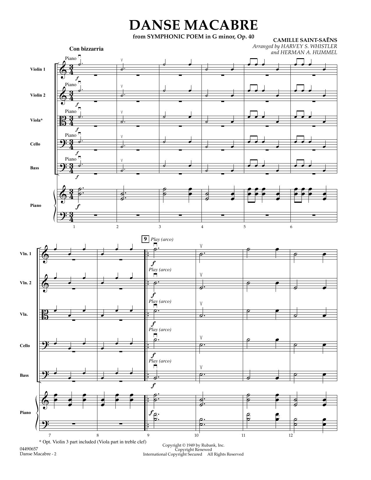 Danse Macabre (COMPLETE) sheet music for orchestra by Herman Hummel, Camille Saint-Saens and Harvey S. Whistler. Score Image Preview.