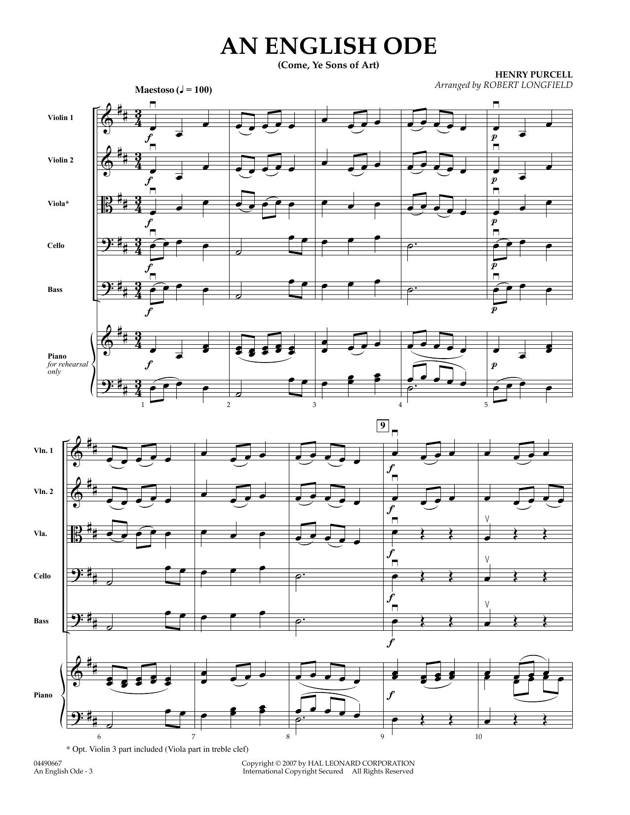 An English Ode (Come, Ye Sons of Art) (COMPLETE) sheet music for orchestra by Henry Purcell and Robert Longfield. Score Image Preview.
