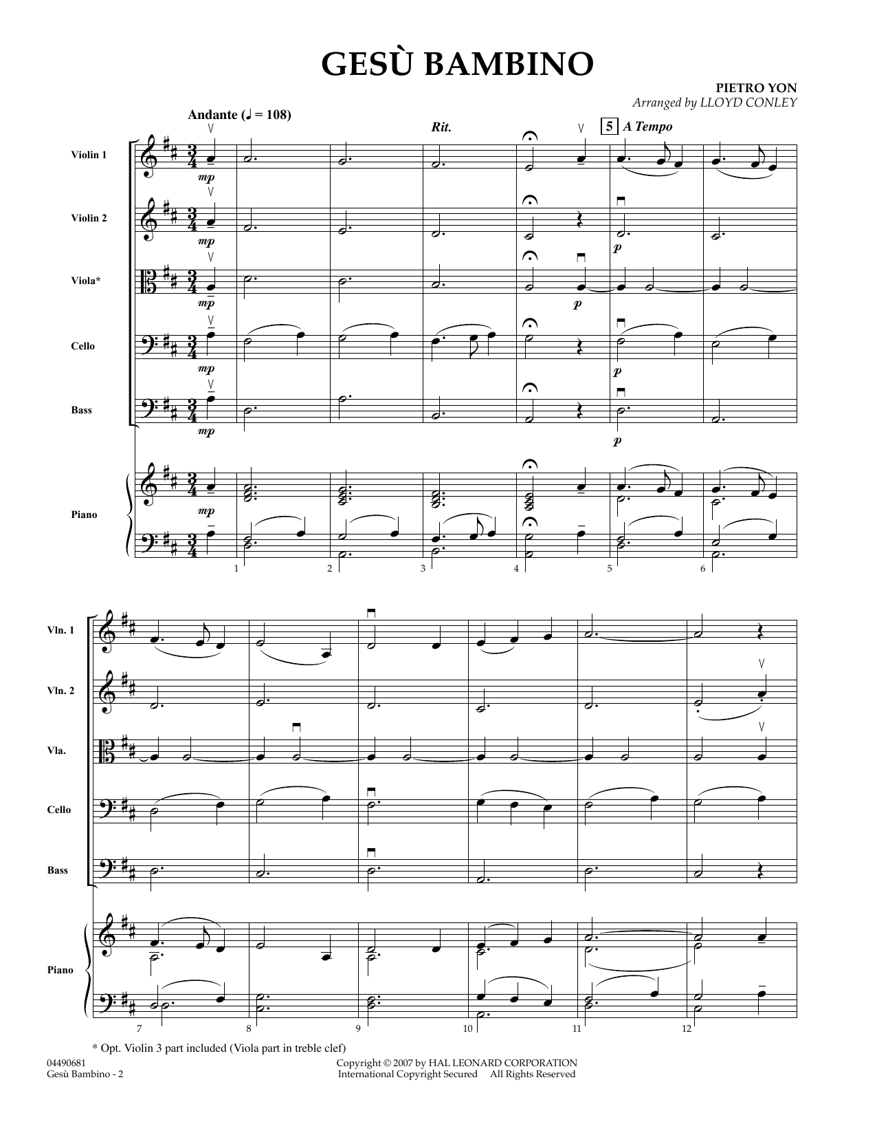 Gesu Bambino (COMPLETE) sheet music for orchestra by Lloyd Conley, Frederick H. Martens and Pietro Yon. Score Image Preview.