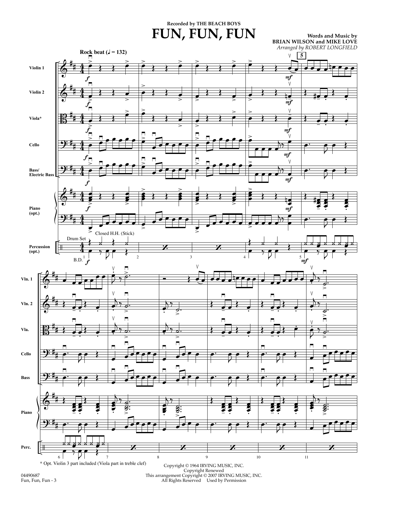 Fun, Fun, Fun (COMPLETE) sheet music for orchestra by The Beach Boys, Brian Wilson, Mike Love and Robert Longfield. Score Image Preview.