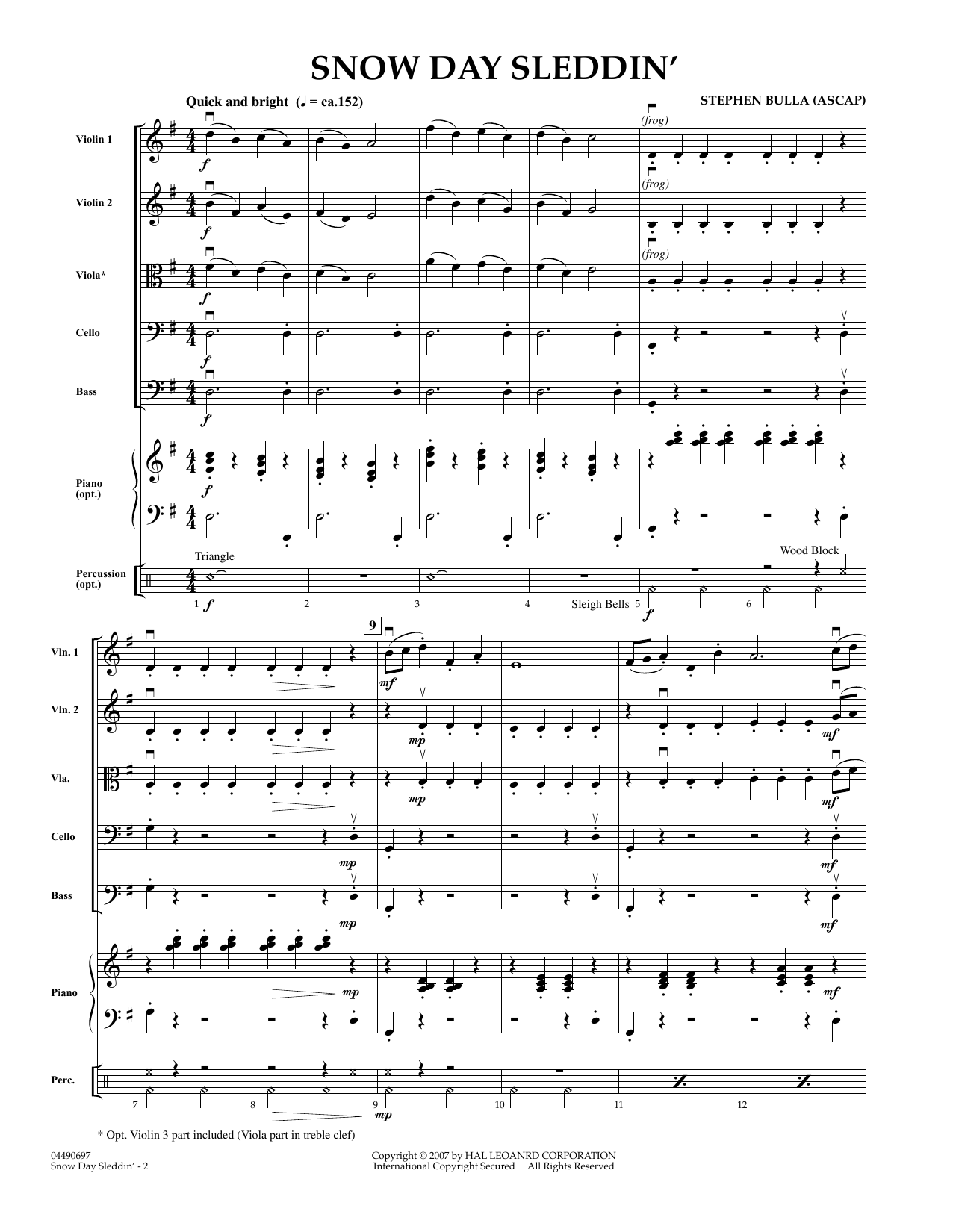 Snow Day Sleddin' (COMPLETE) sheet music for orchestra by Stephen Bulla. Score Image Preview.