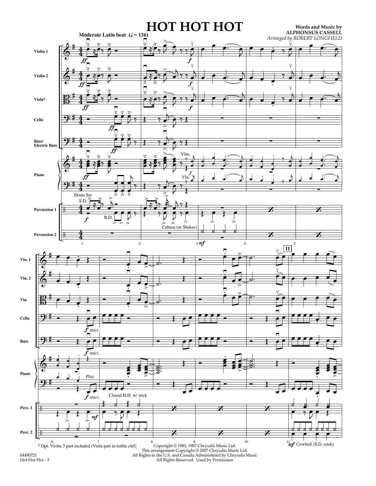 Hot Hot Hot (COMPLETE) sheet music for orchestra by Robert Longfield and Alphonsus Cassell. Score Image Preview.