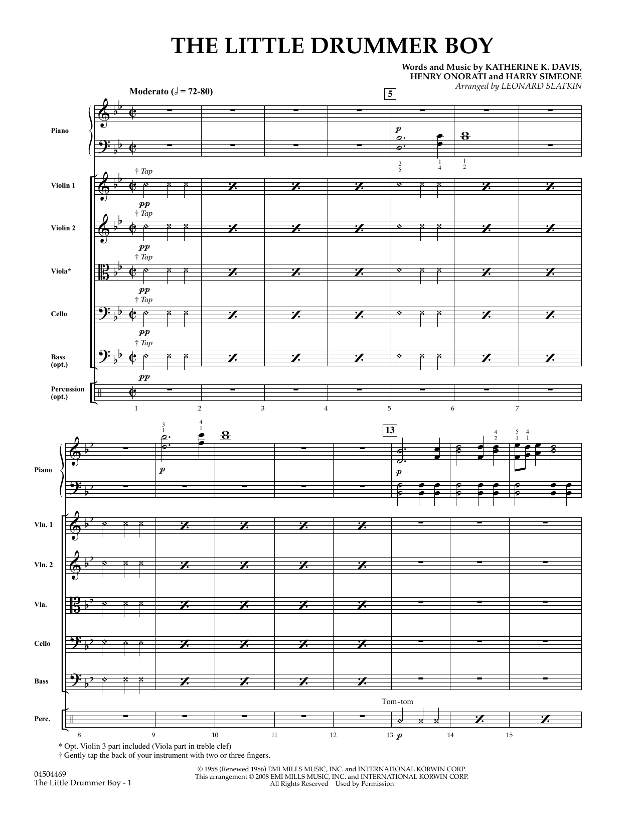 The Little Drummer Boy - Conductor Score (Full Score) Partition Digitale
