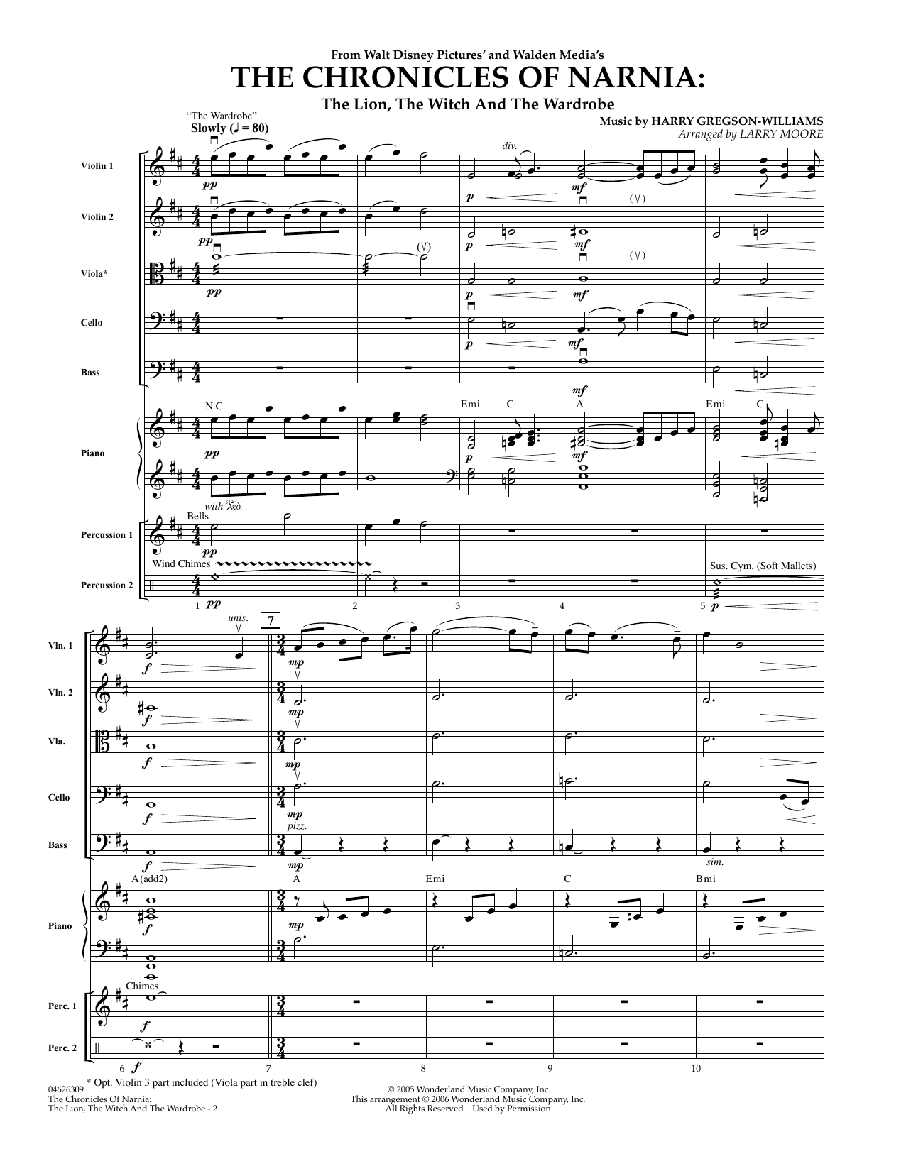 The Chronicles of Narnia (COMPLETE) sheet music for orchestra by Harry Gregson-Williams and Larry Moore. Score Image Preview.