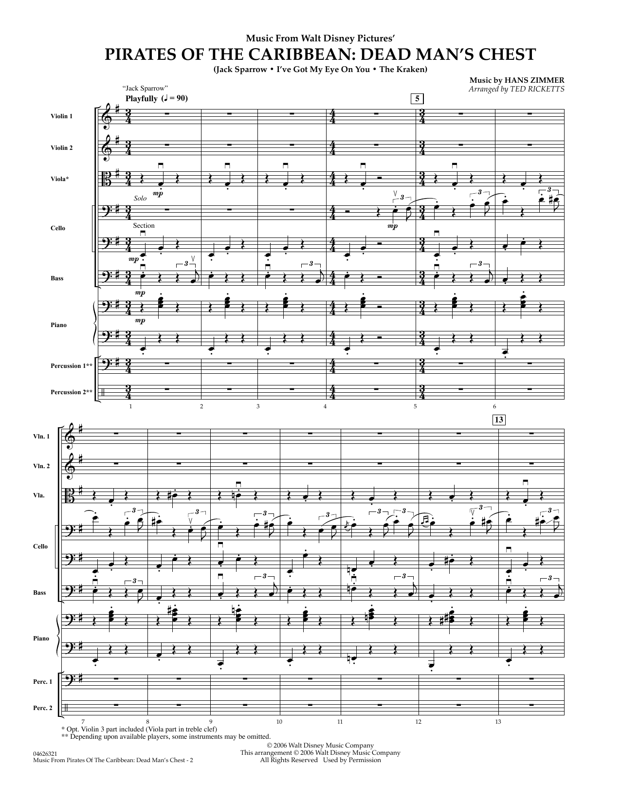 Music from Pirates of the Caribbean: Dead Man's Chest (COMPLETE) sheet music for orchestra by Hans Zimmer and Ted Ricketts. Score Image Preview.