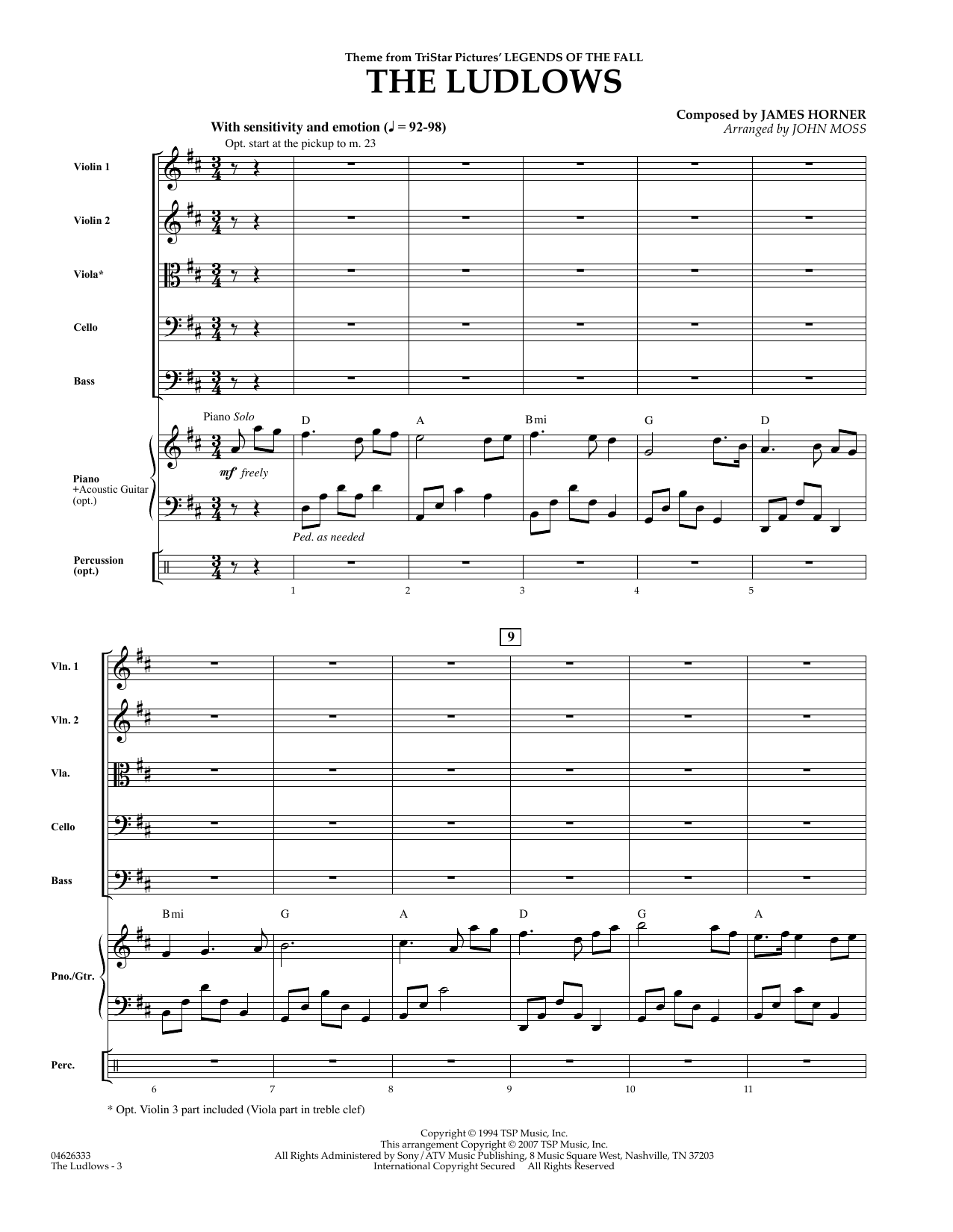 The Ludlows (Theme from Legends of the Fall) (COMPLETE) sheet music for orchestra by James Horner and John Moss. Score Image Preview.