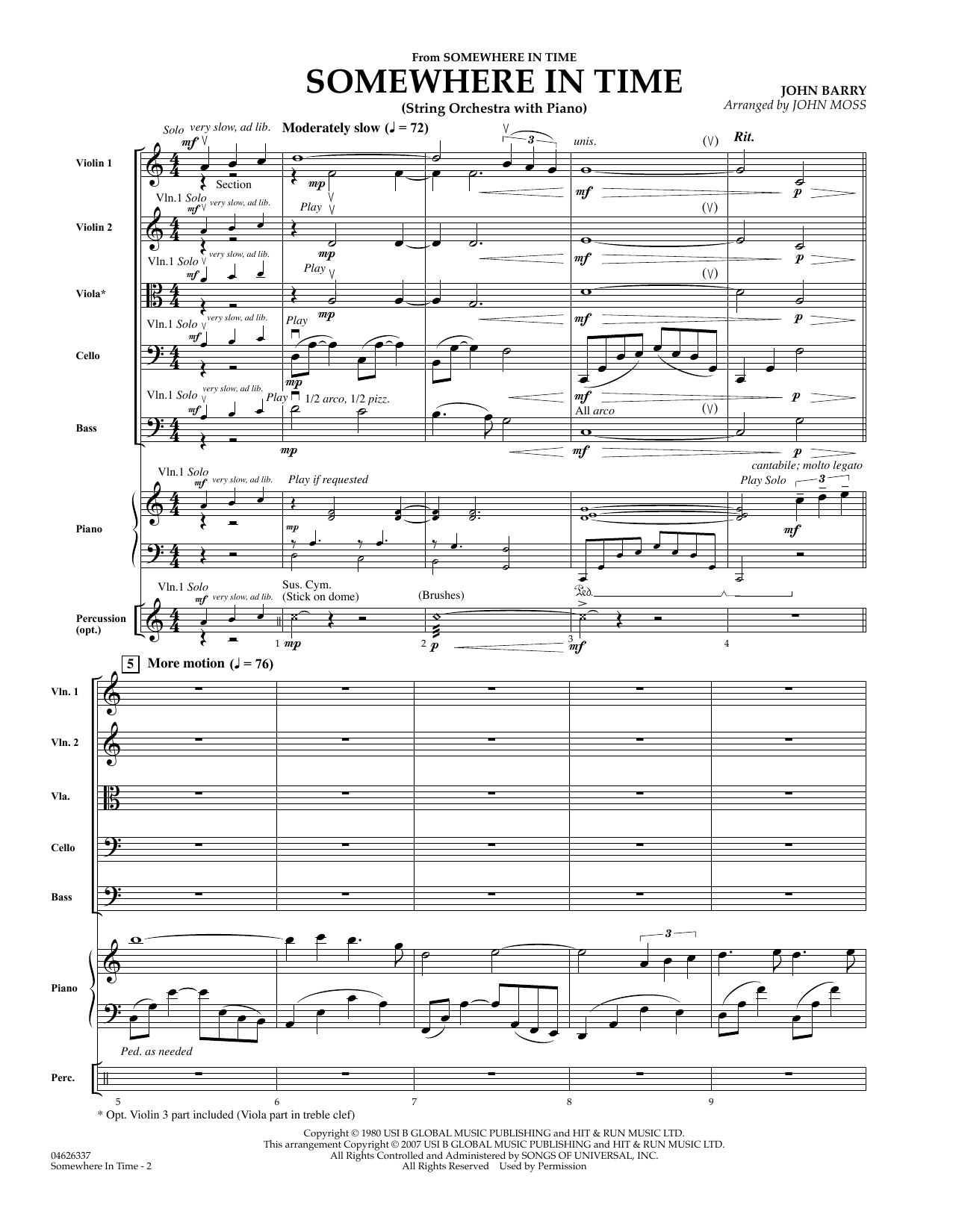 Somewhere in Time (COMPLETE) sheet music for orchestra by John Moss, B.A. Robertson and John Barry. Score Image Preview.