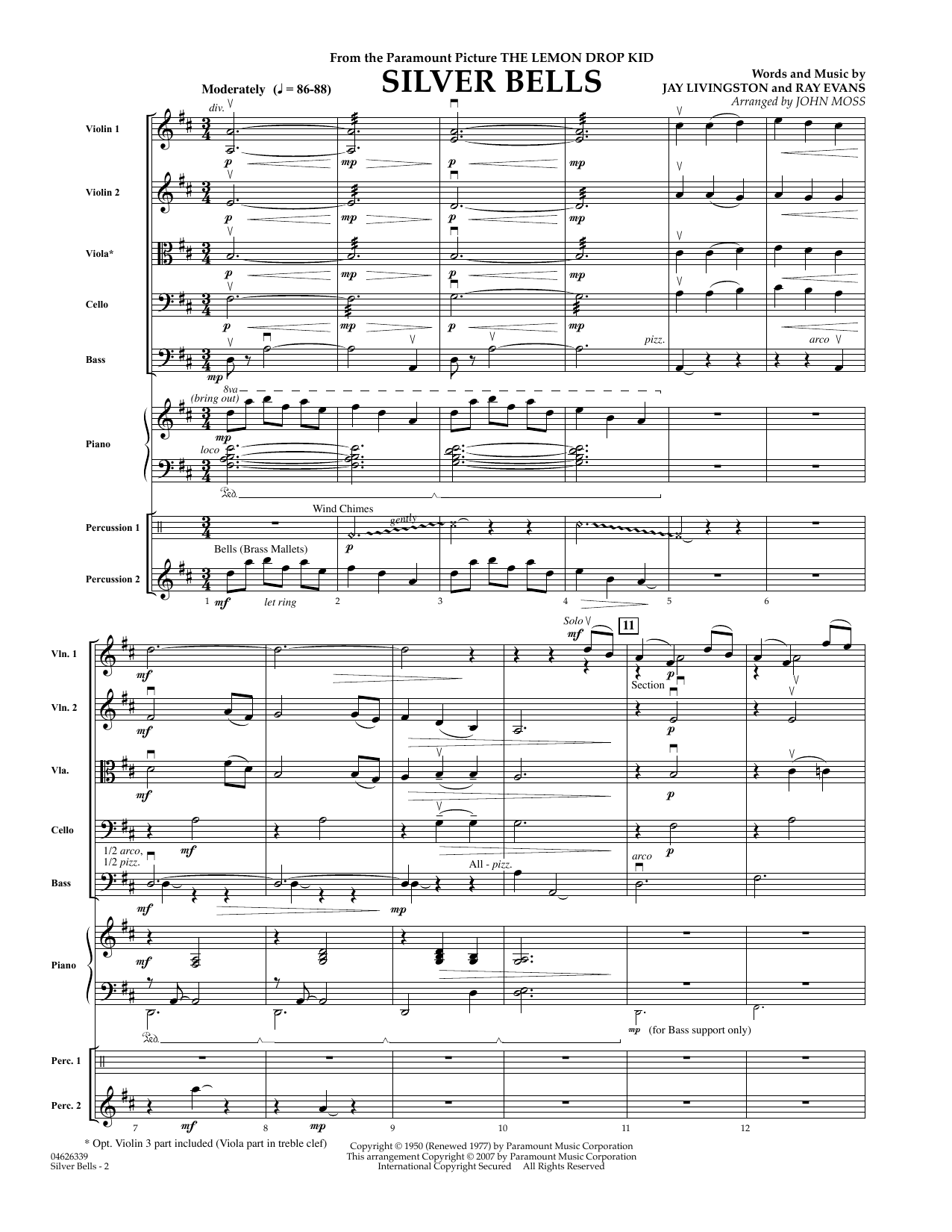 Silver Bells (COMPLETE) sheet music for orchestra by John Moss, Jay Livingston, John Denver, Kenny Chesney, Lady Antebellum and Ray Evans. Score Image Preview.
