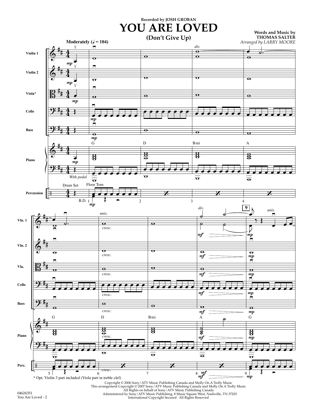 You Are Loved (Don't Give Up) (COMPLETE) sheet music for orchestra by Larry Moore, Josh Groban and Thomas Salter. Score Image Preview.