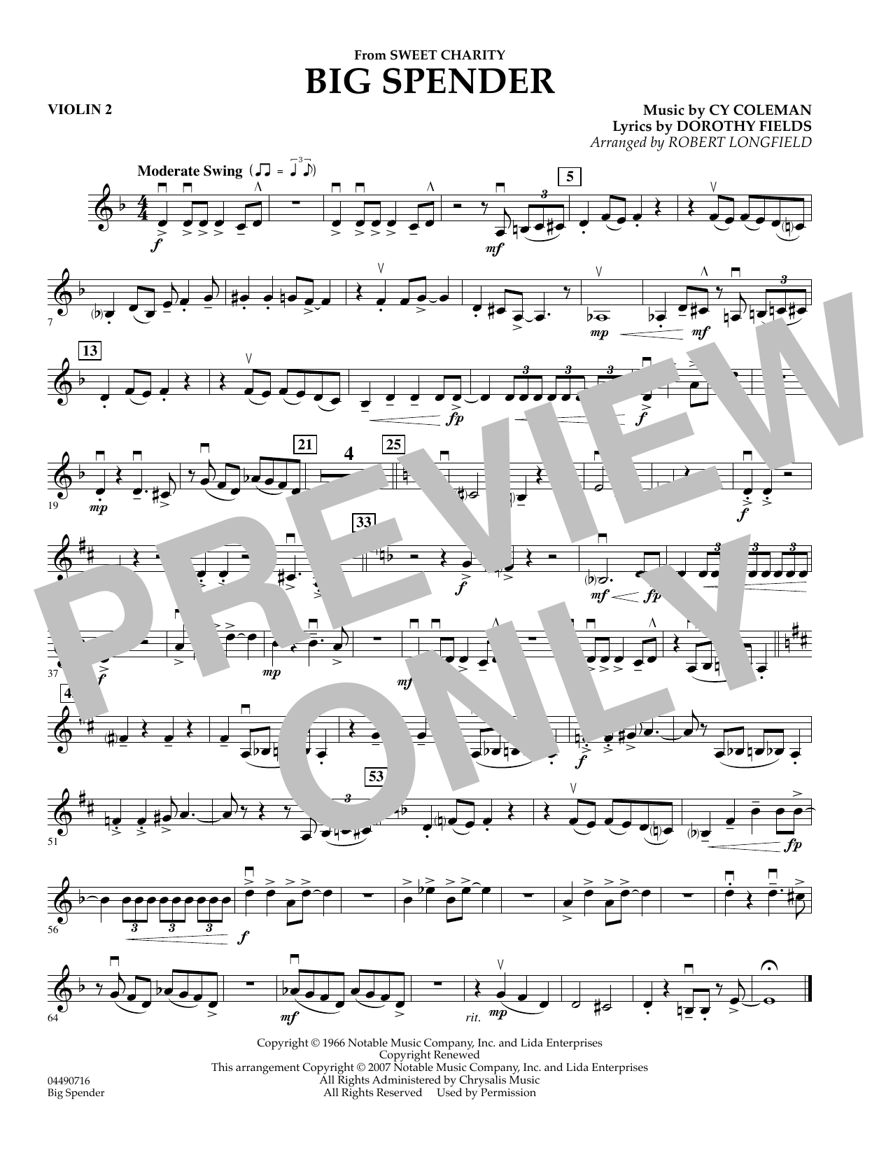 Cy Coleman: Big Spender (Sweet Charity) - Violin 2 (Orchestra)