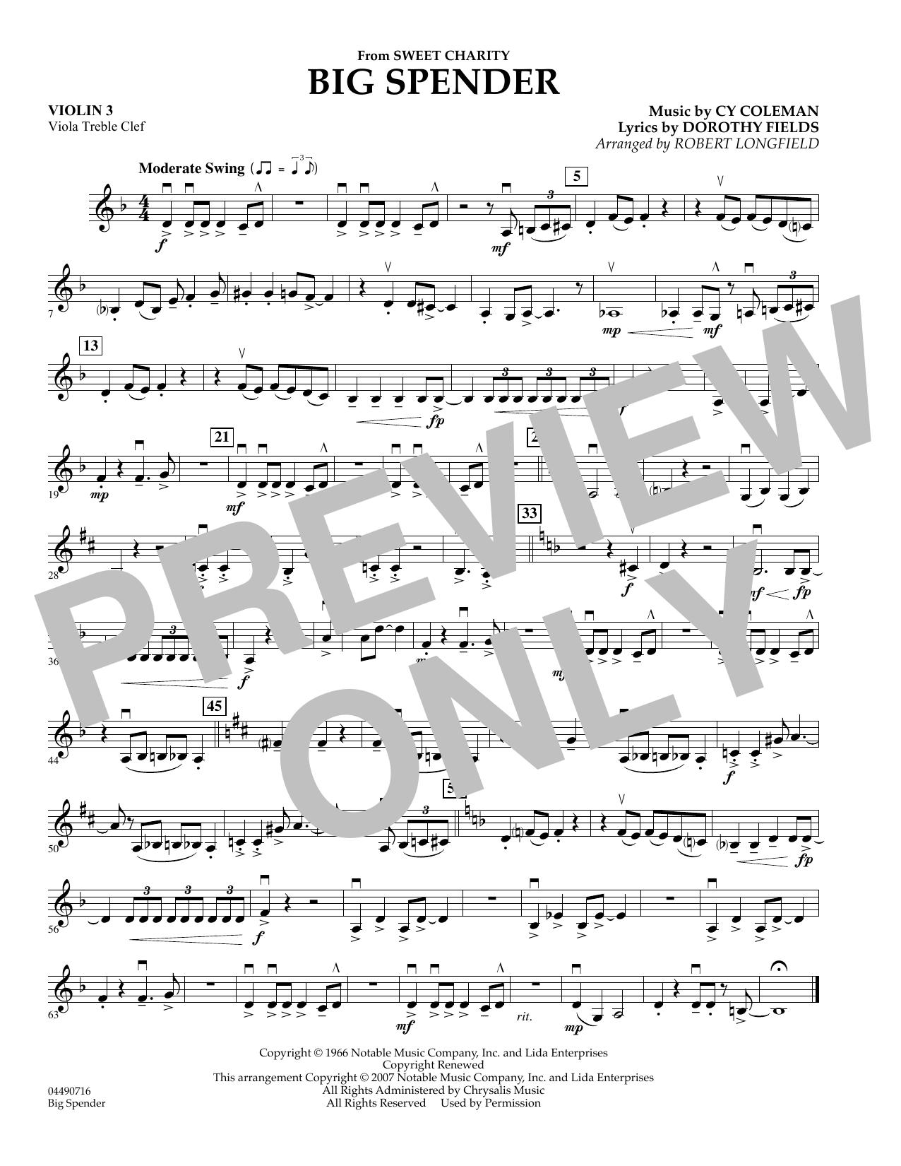 Cy Coleman: Big Spender (Sweet Charity) - Violin 3 (Viola T.C.) (Orchestra)