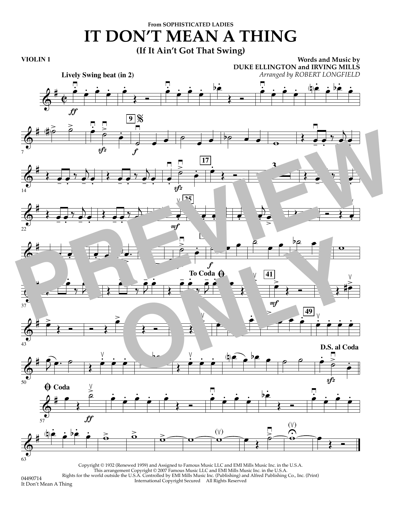 It Don't Mean A Thing - Violin 1 Sheet Music
