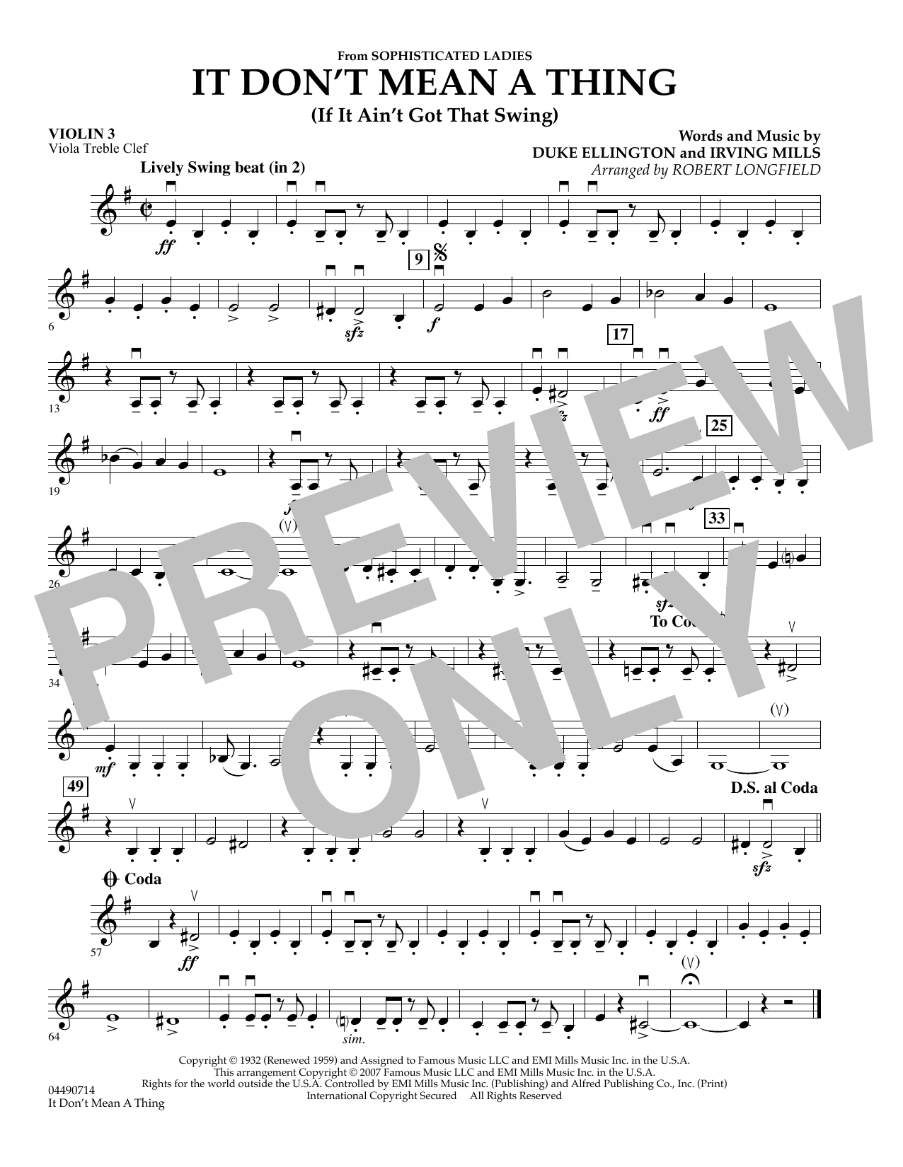 It Don't Mean A Thing - Violin 3 (Viola Treble Clef) Sheet Music