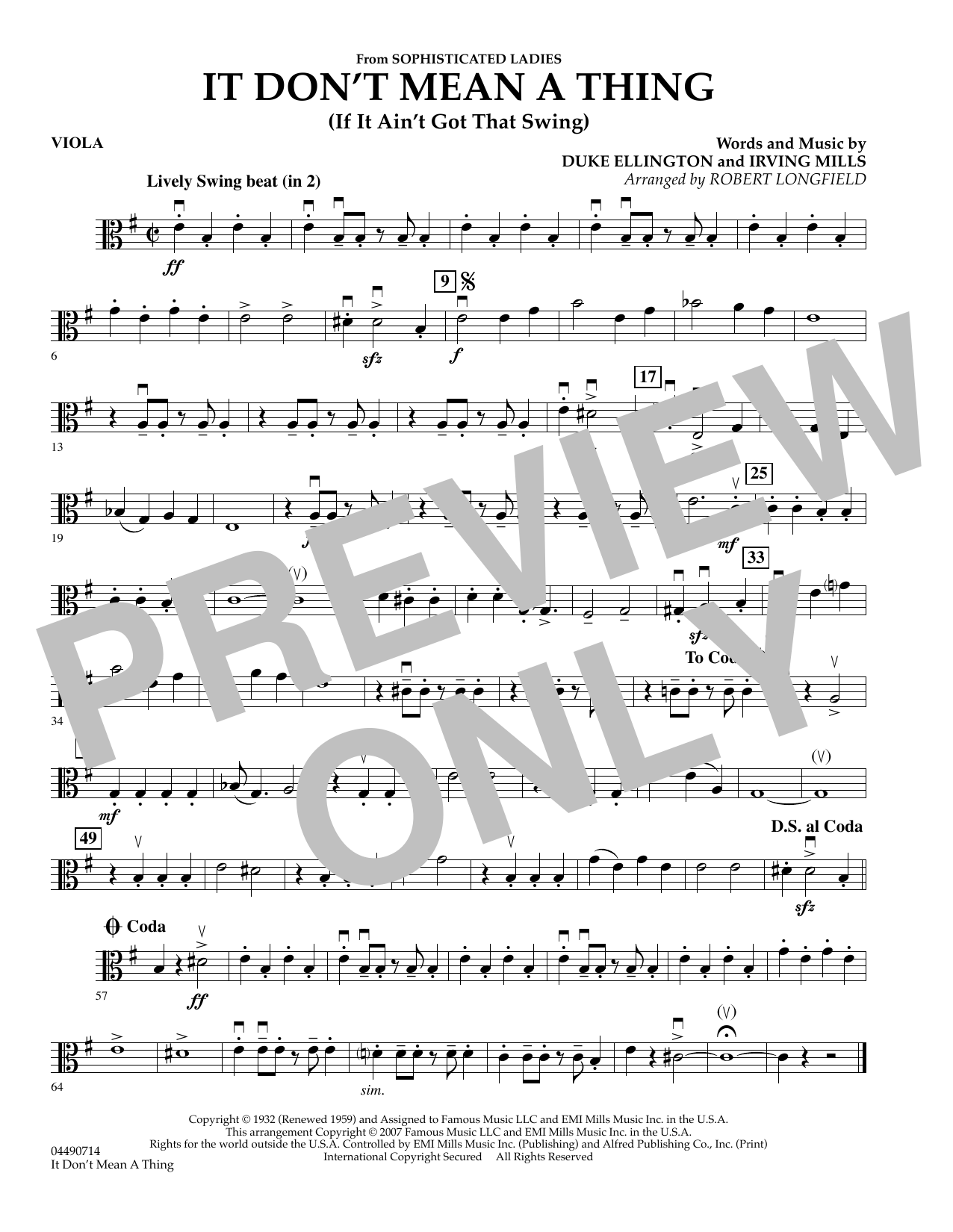 It Don't Mean A Thing - Viola Sheet Music