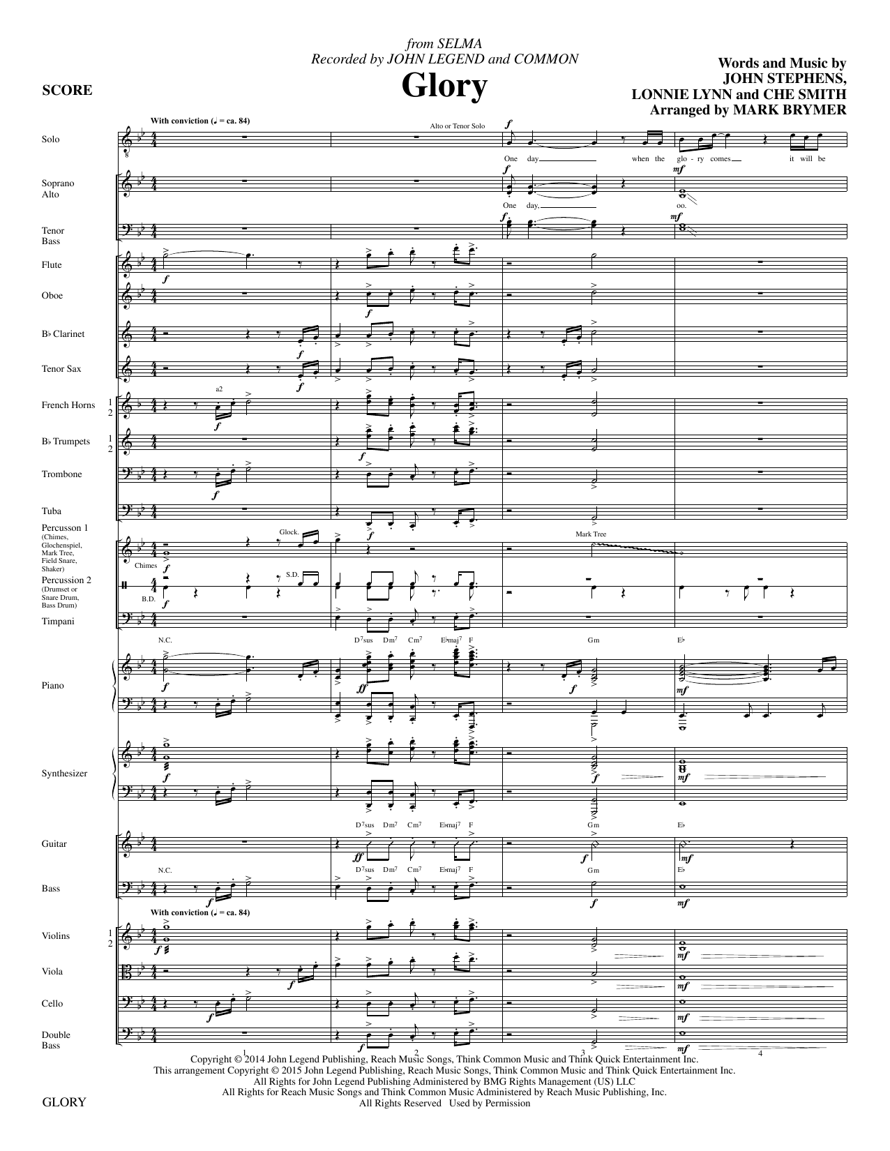 Glory (COMPLETE) sheet music for orchestra/band by Mark Brymer, John Stephens and Lonnie Lynn. Score Image Preview.