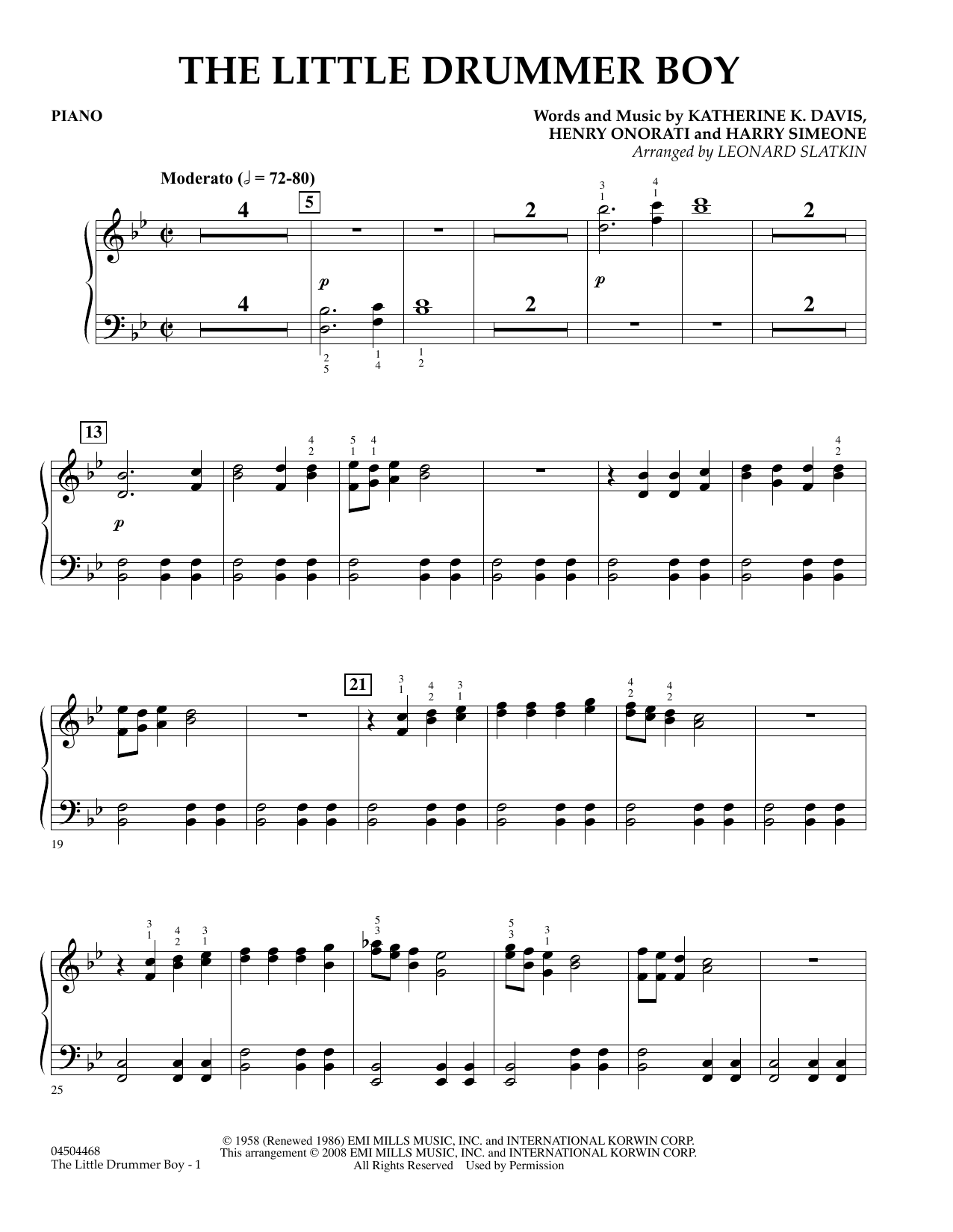 The Little Drummer Boy - Piano Partituras Digitales