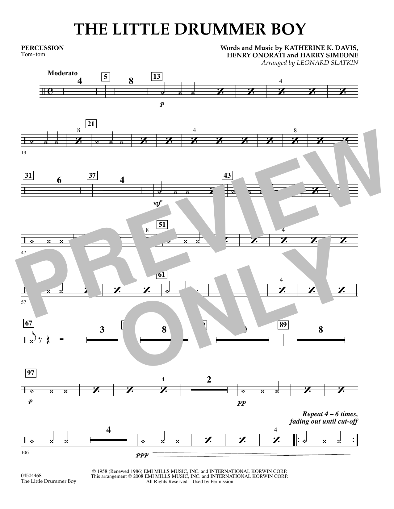 The Little Drummer Boy - Percussion Sheet Music