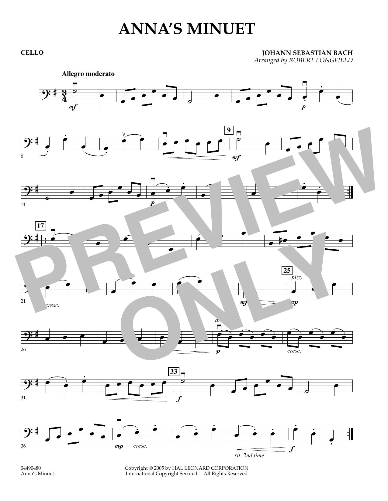 Anna's Minuet - Cello (Orchestra)