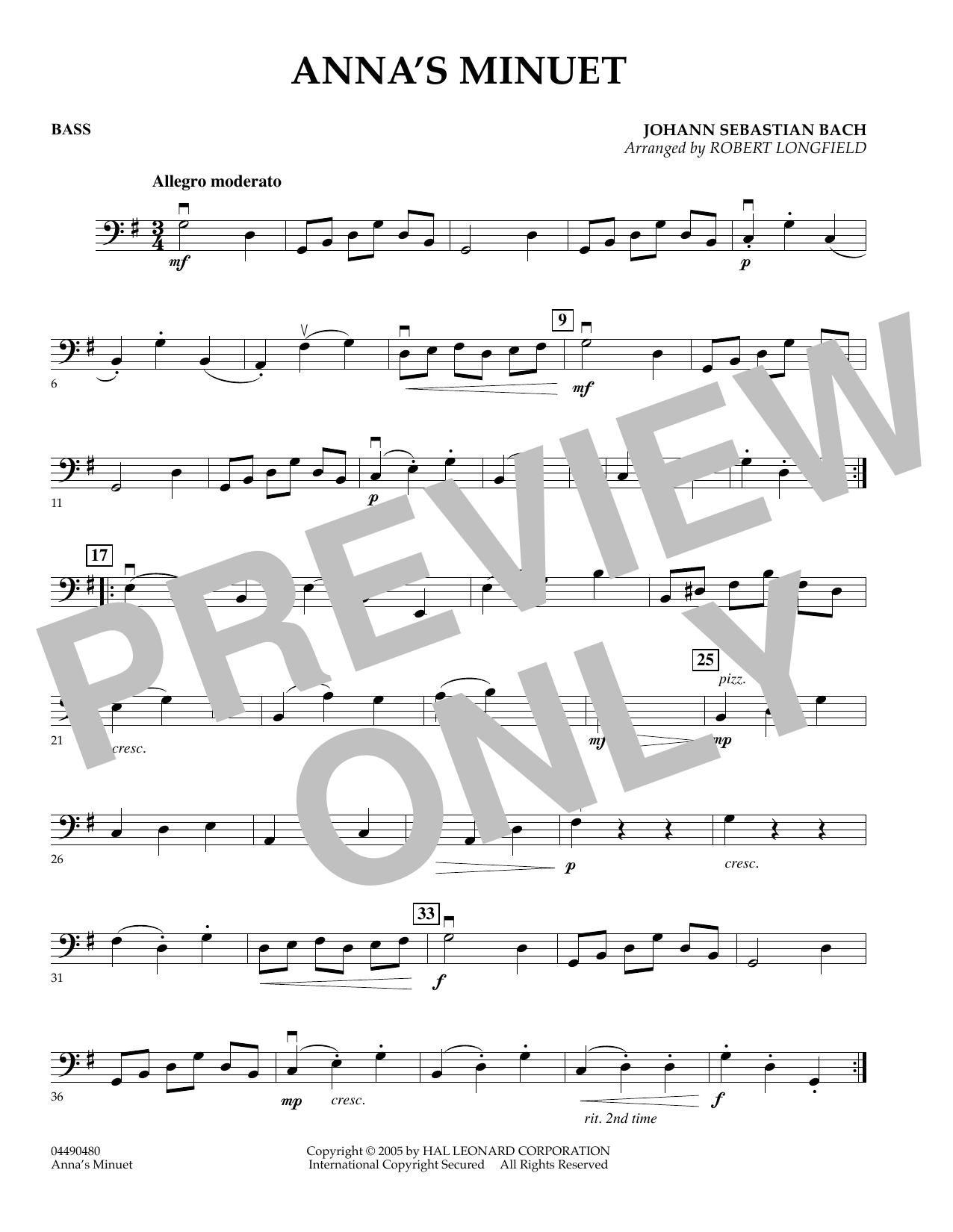 Anna's Minuet - Bass (Orchestra)
