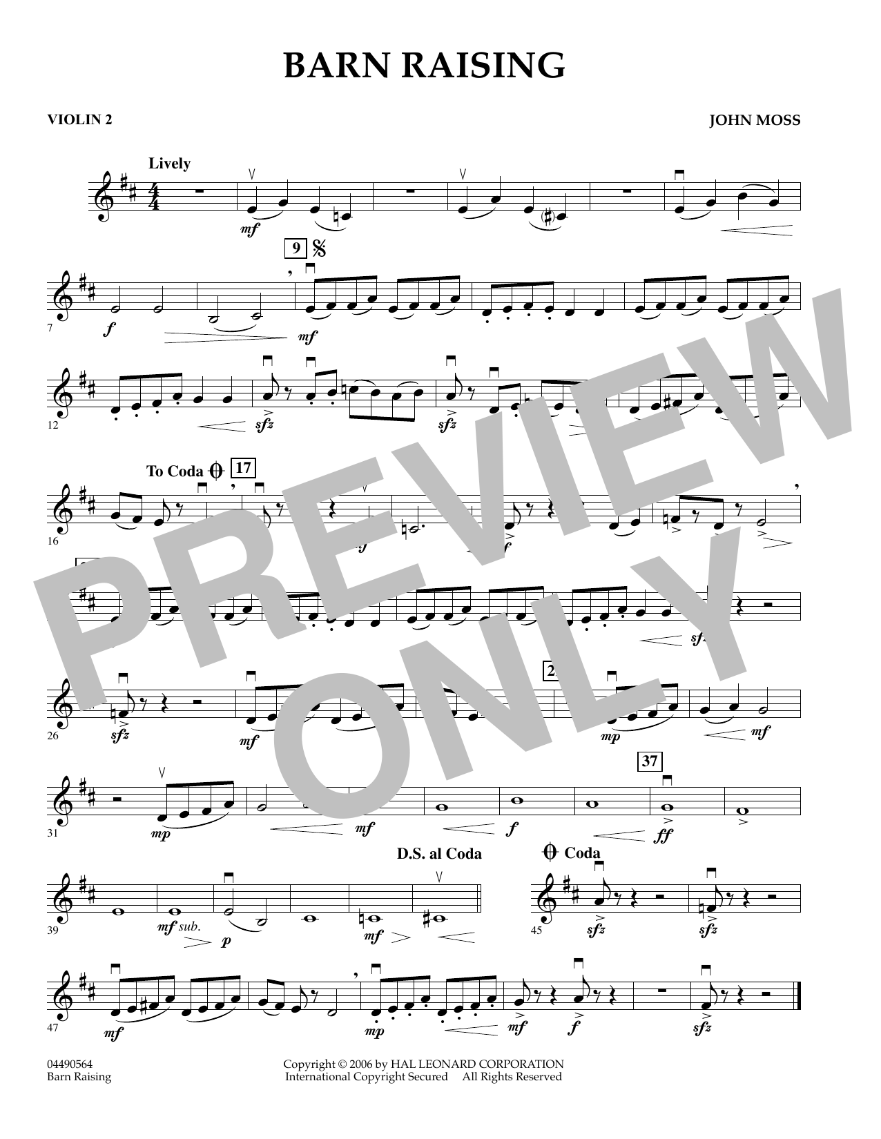 Barn Raising - Violin 2 (Orchestra)