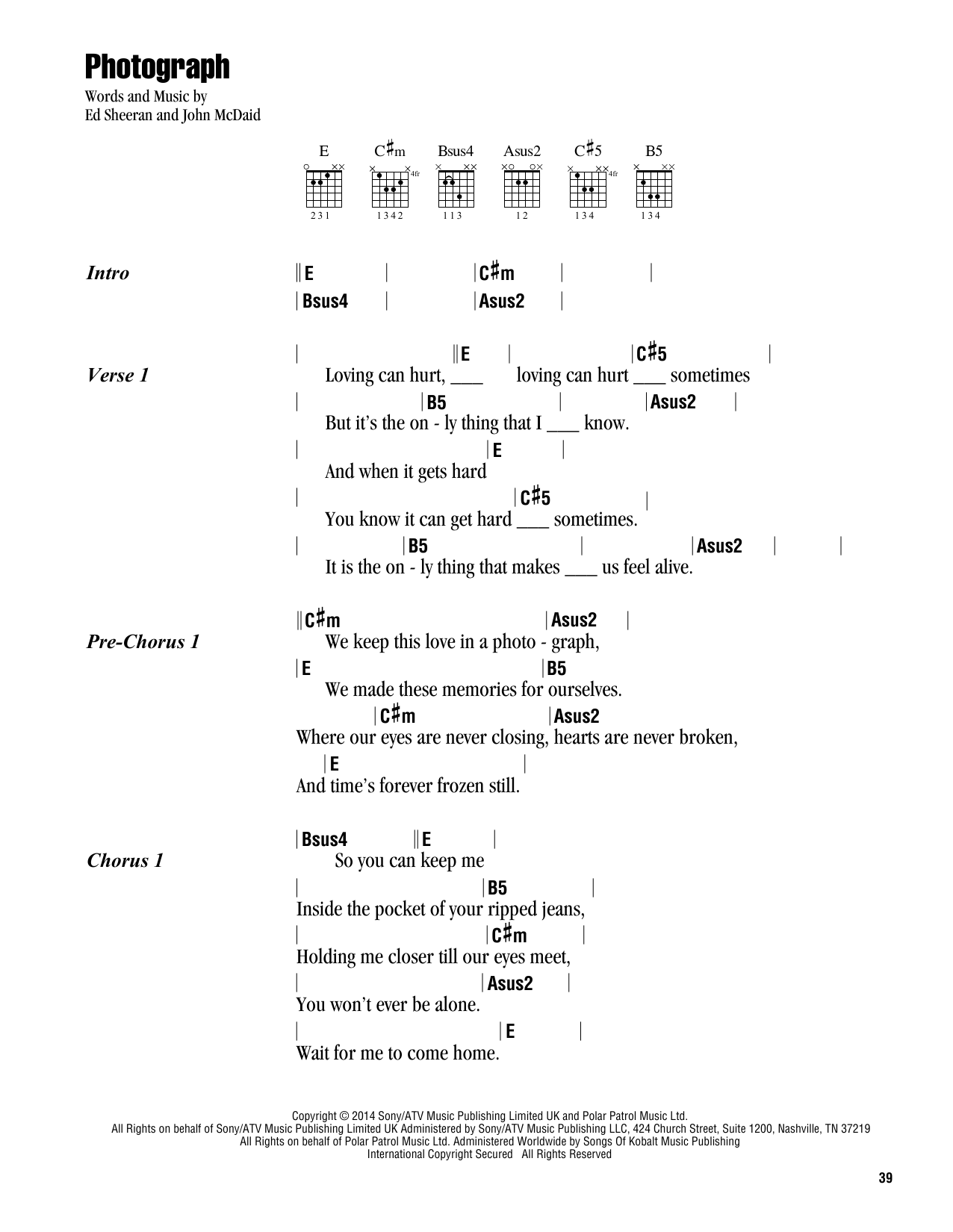 Photograph Sheet Music By Ed Sheeran Lyrics Chords 164017