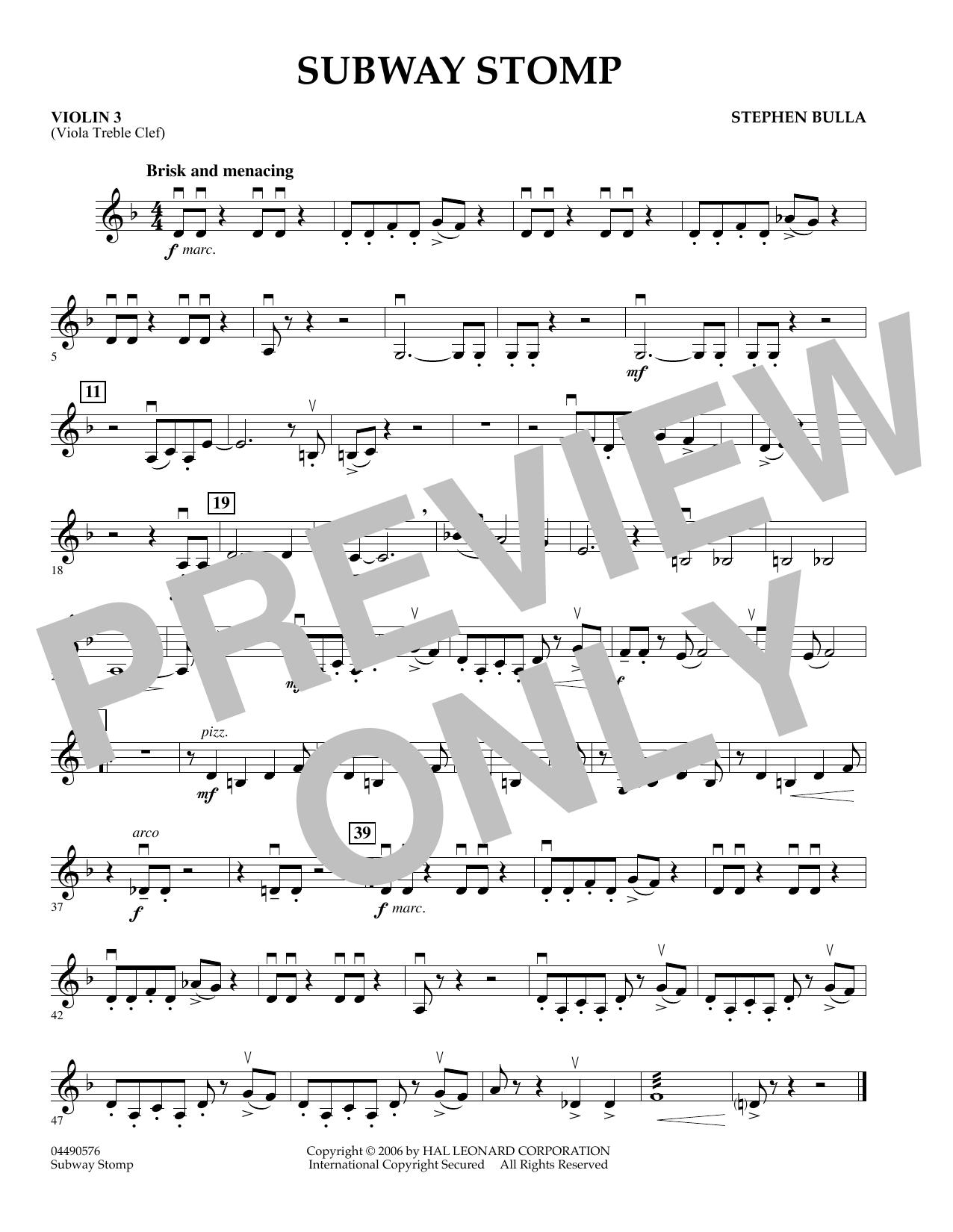 Subway Stomp - Violin 3 (Viola Treble Clef) (Orchestra)