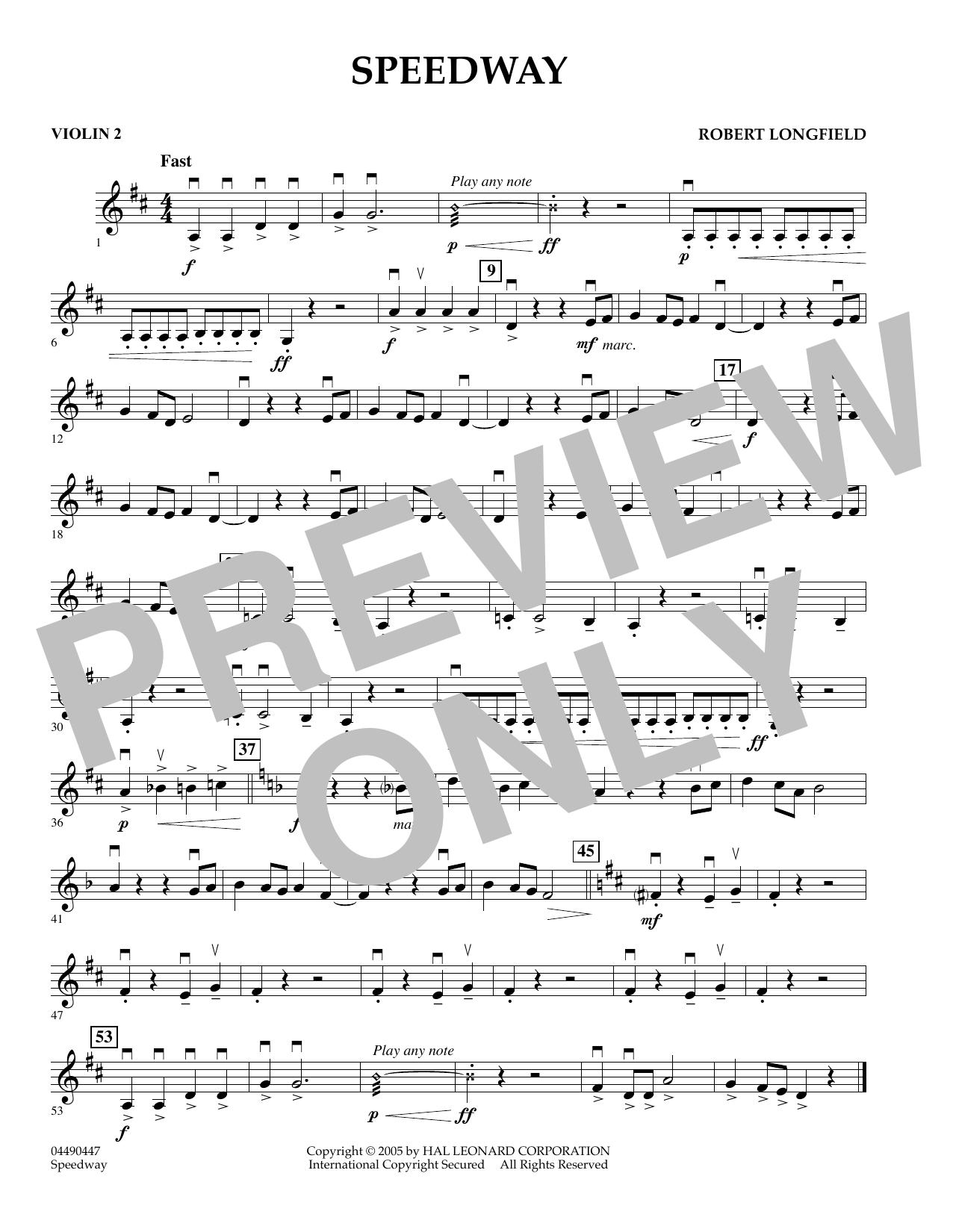 Speedway - Violin 2 (Orchestra)