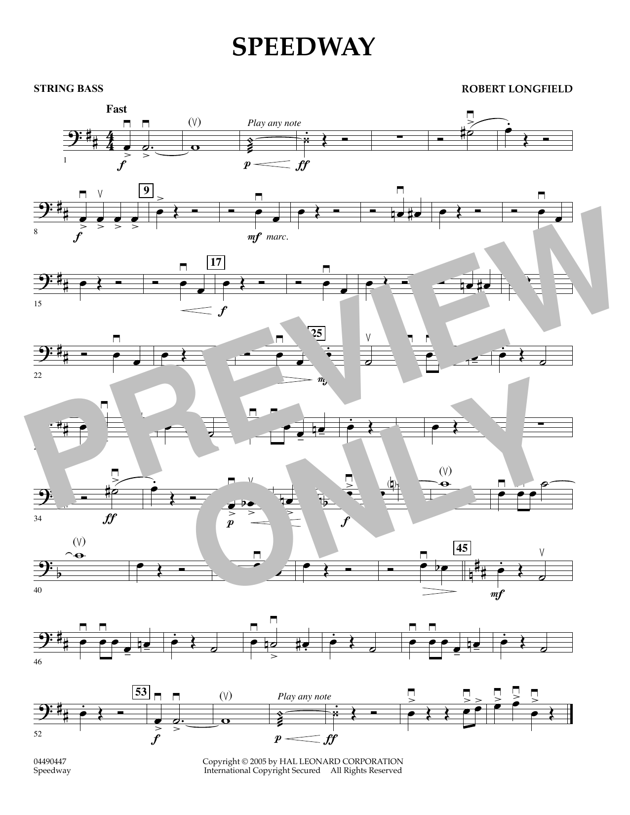 page one of Speedway - String BassASALTTEXT
