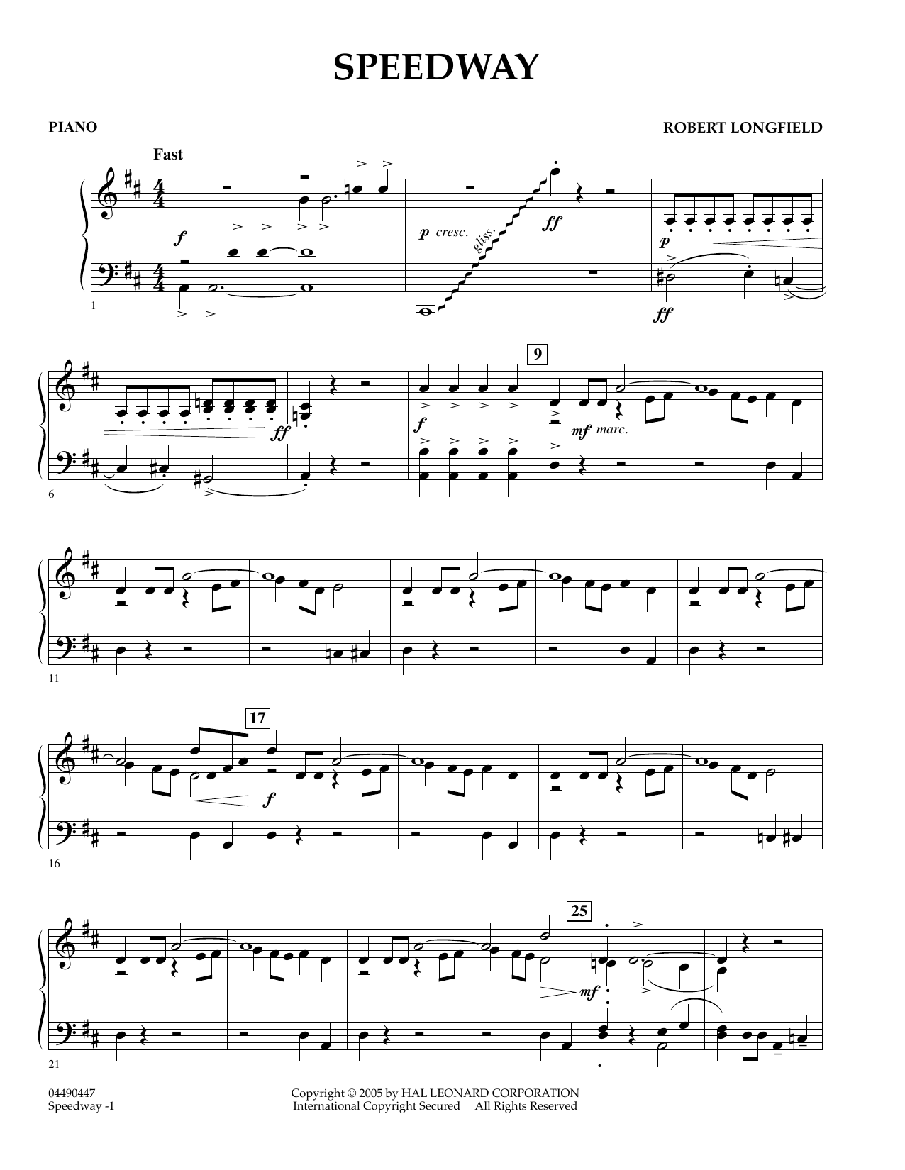 Speedway - Percussion 1 (Orchestra)