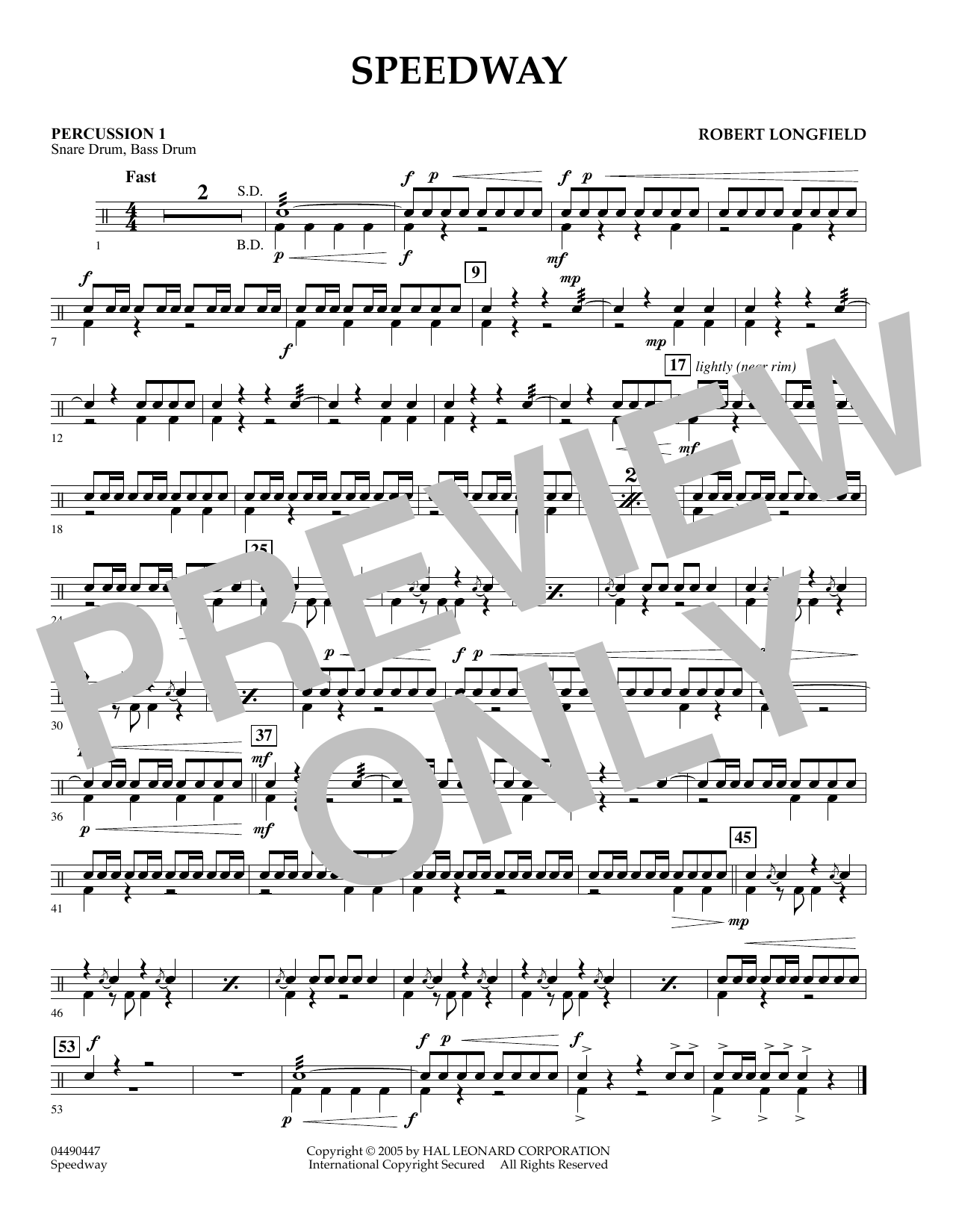 Speedway - Percussion 2 (Orchestra)