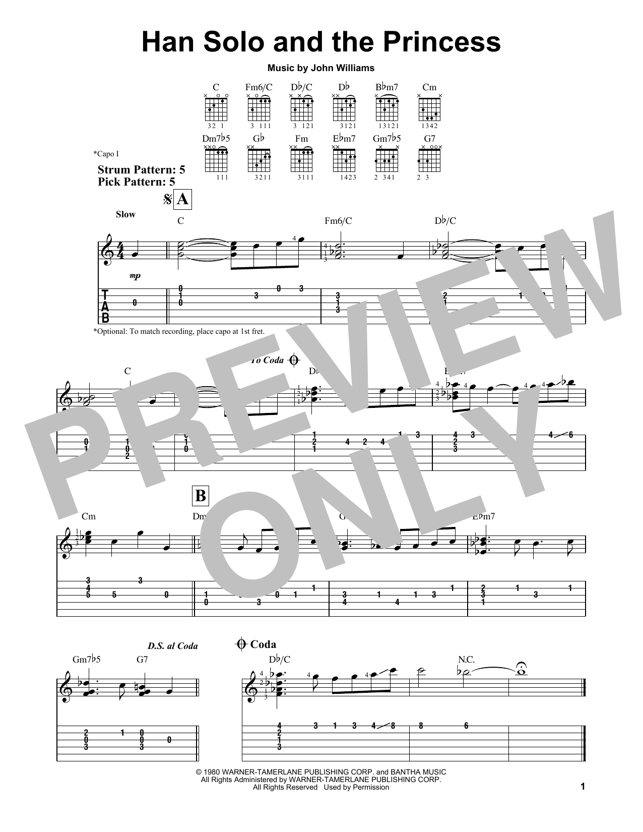 Han Solo And The Princess (from Star Wars: Episode V - The Empire Strikes Back) (Easy Guitar Tab)