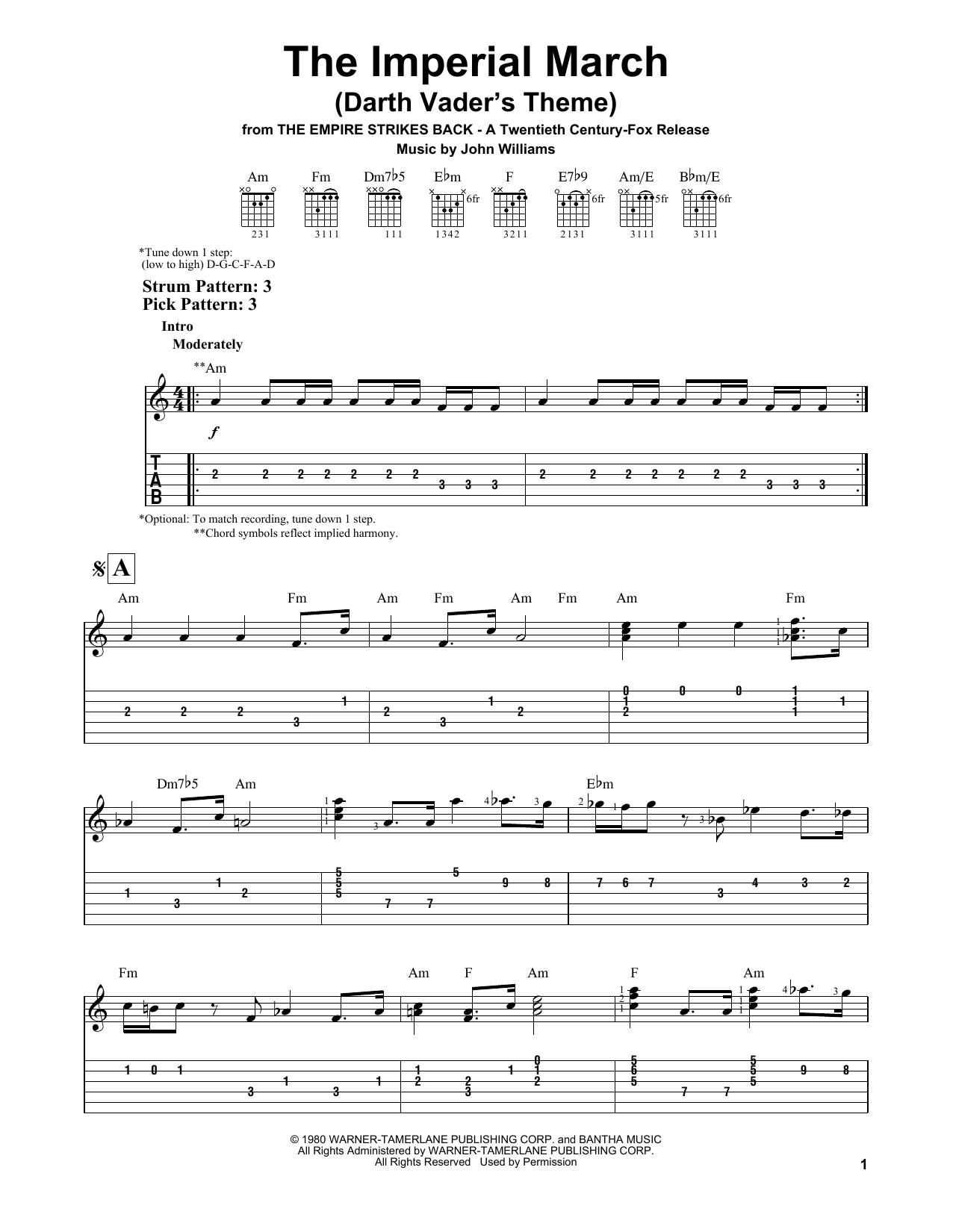 The Imperial March (Darth Vader's Theme) (Easy Guitar Tab)