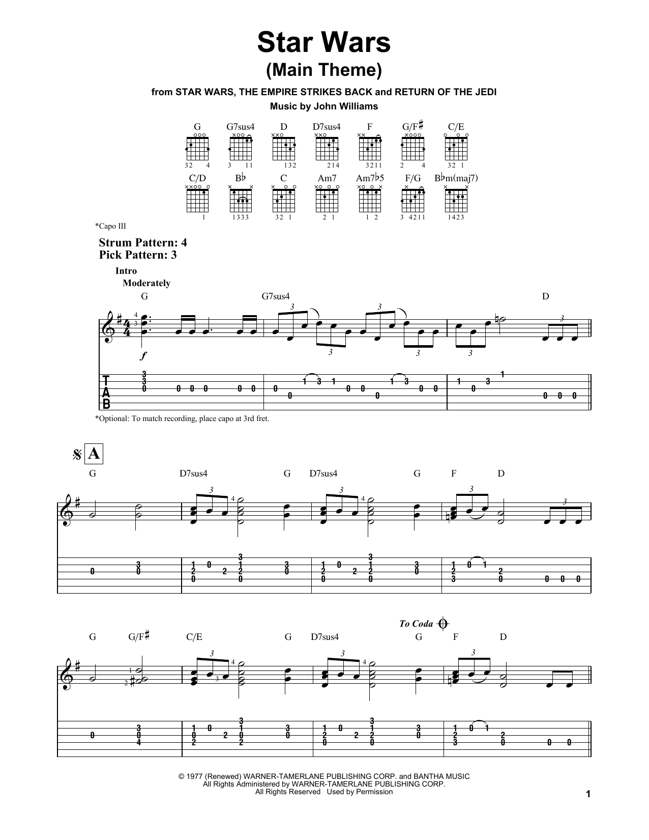 Star Wars (Main Theme) by John Williams - Easy Guitar Tab - Guitar Instructor