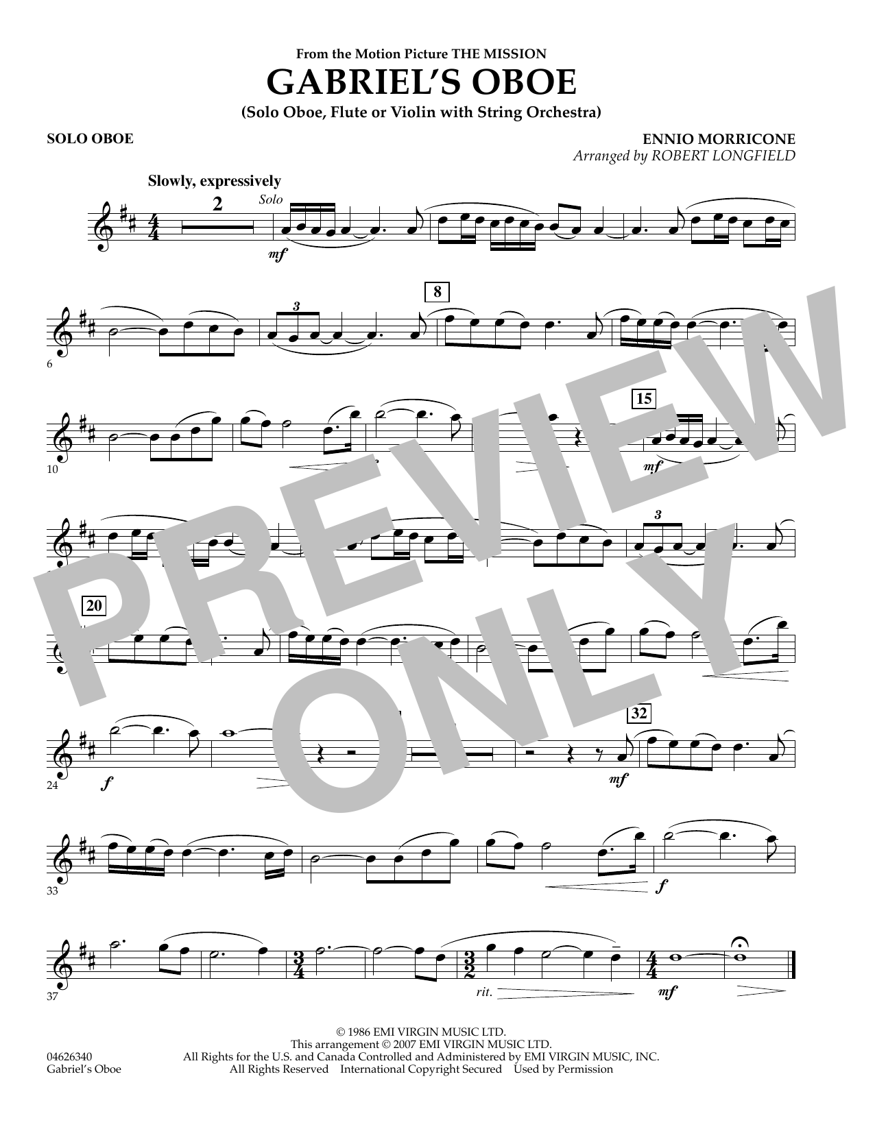 Gabriel's Oboe (from The Mission) - Solo Oboe (Orchestra)