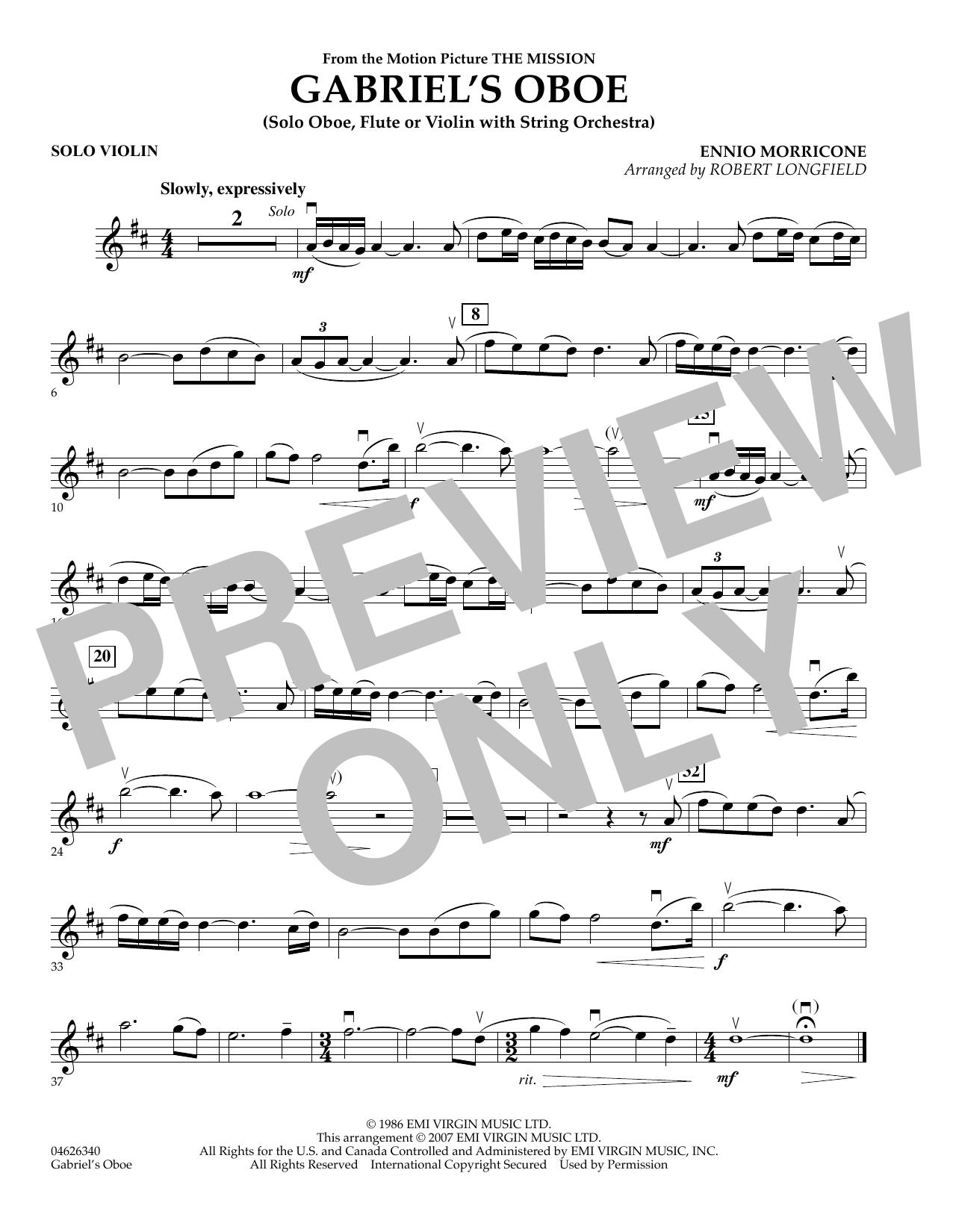 Gabriel's Oboe (from The Mission) - Solo Violin (Orchestra)