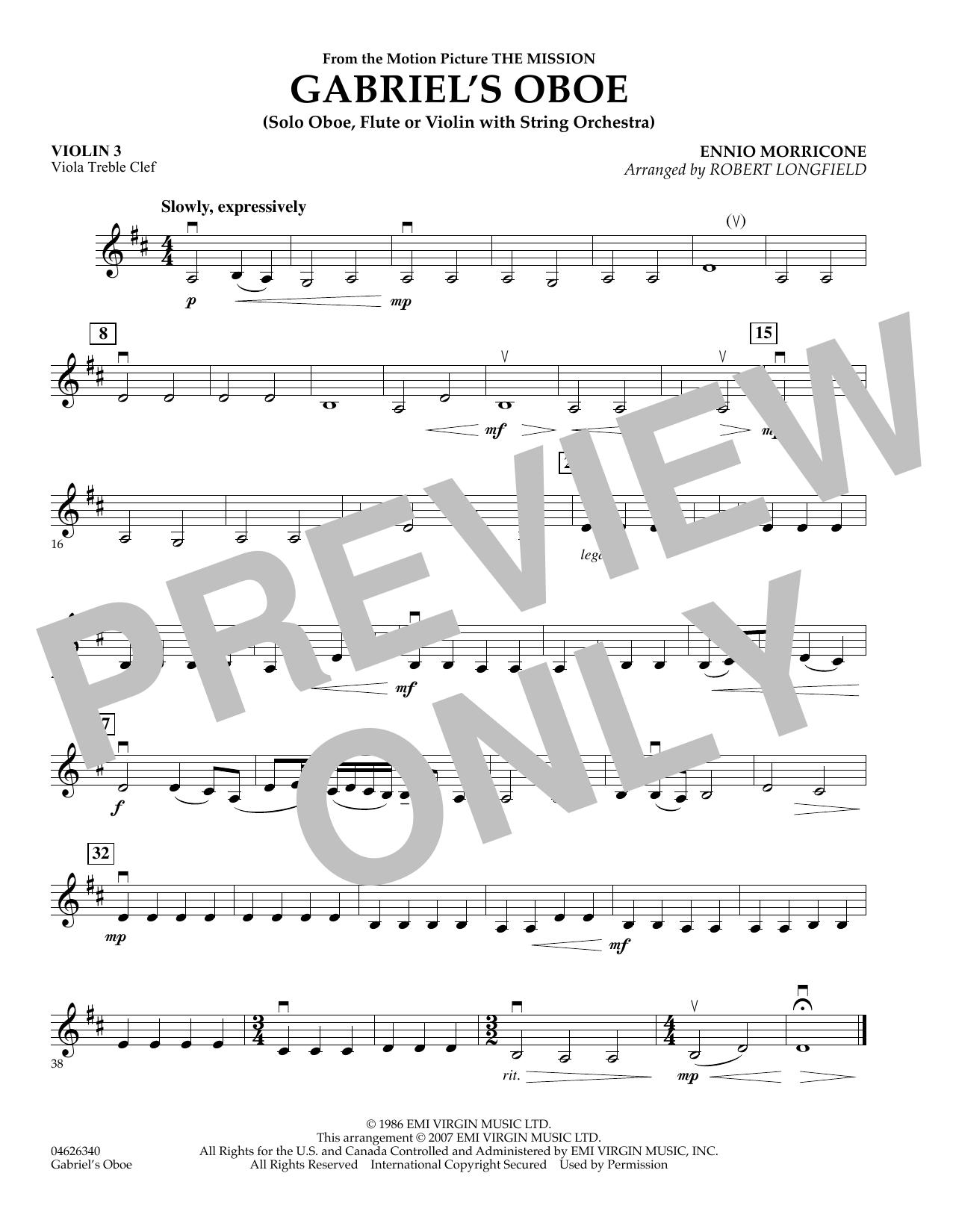 Gabriel's Oboe (from The Mission) - Violin 3 (Viola Treble Clef) (Orchestra)
