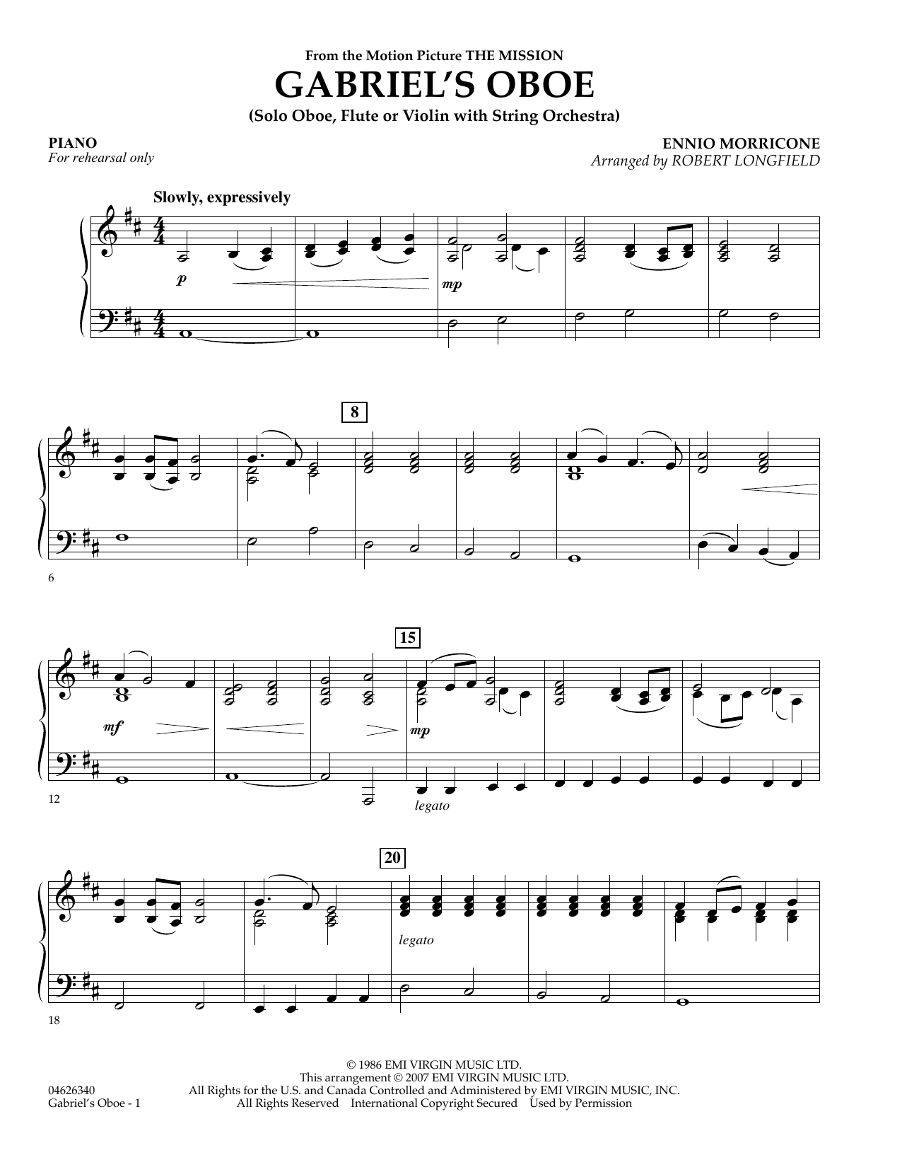 Gabriel's Oboe (from The Mission) - Piano (Orchestra)
