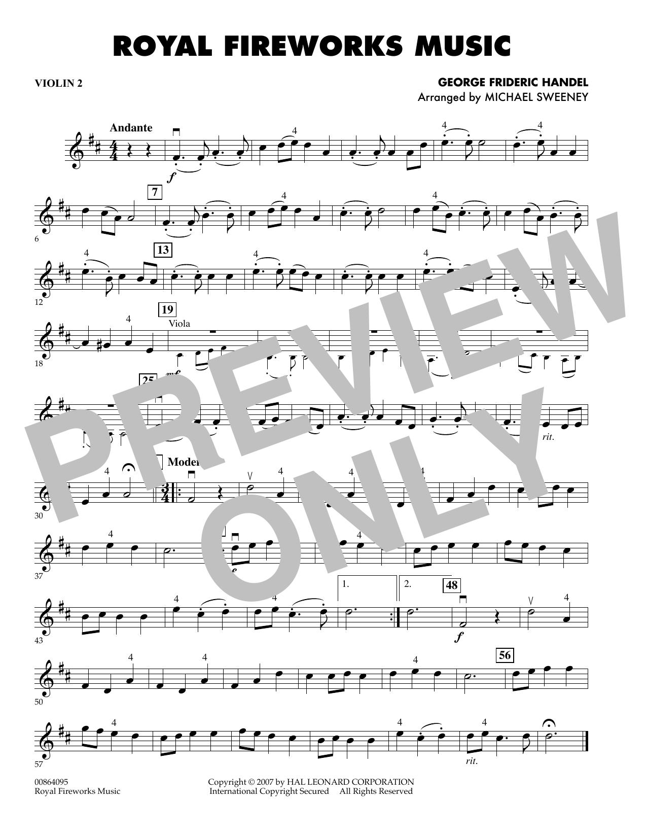 Royal Fireworks Music - Violin 2 (Orchestra)