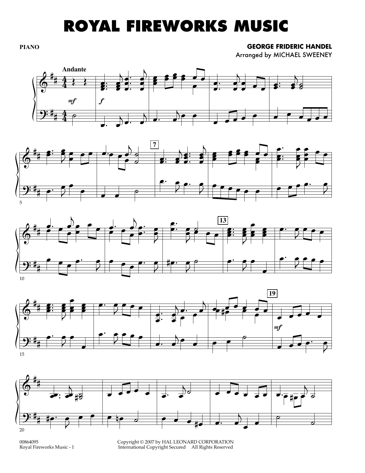 page one of Royal Fireworks Music - TimpaniASALTTEXT