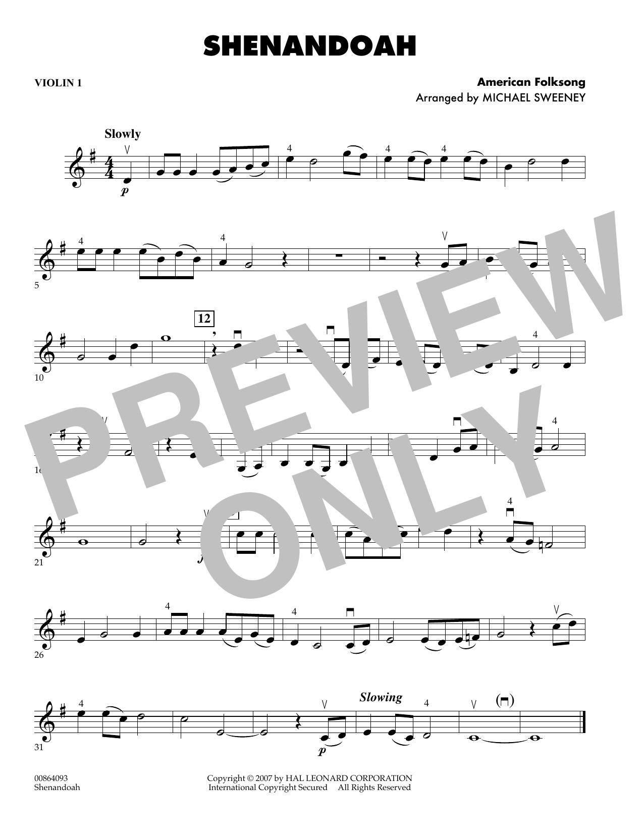 Shenandoah - Violin 1 (Orchestra)