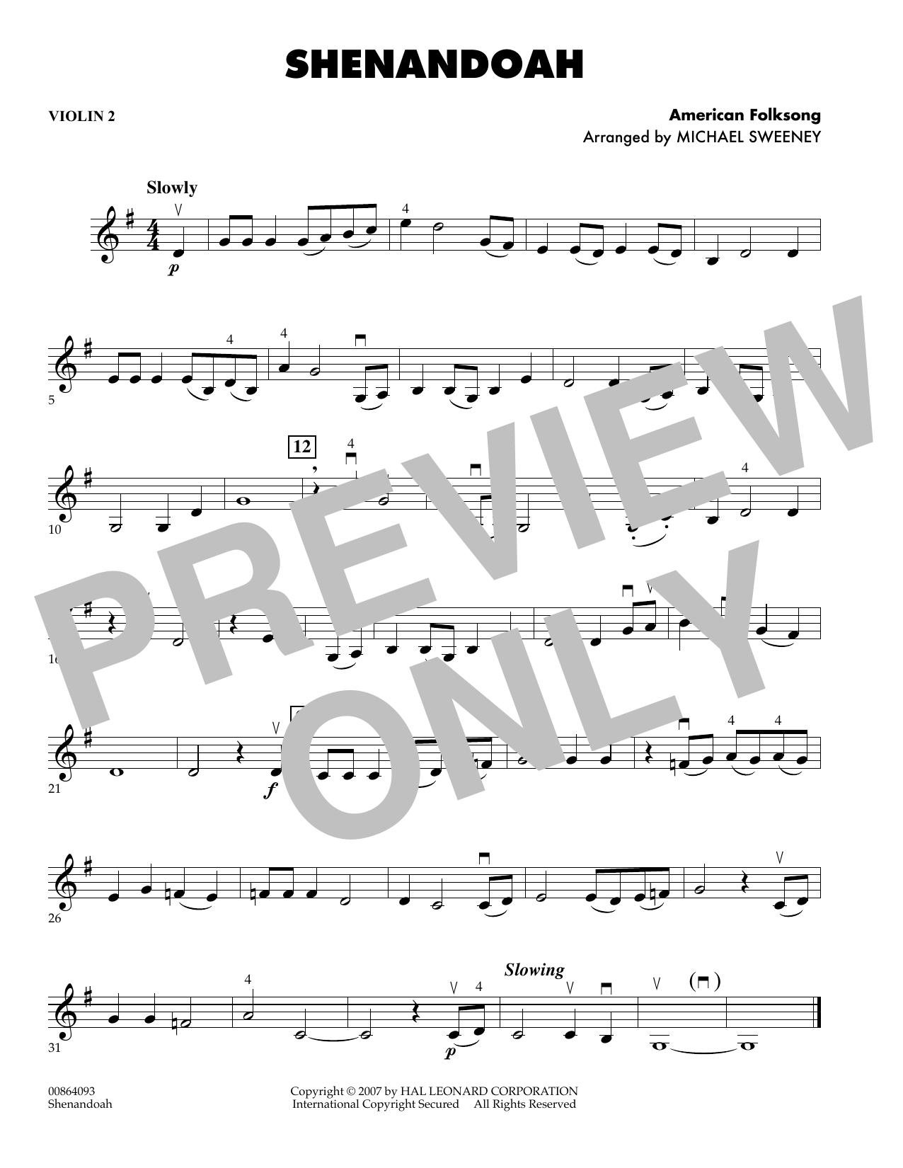 Shenandoah - Violin 2 (Orchestra)