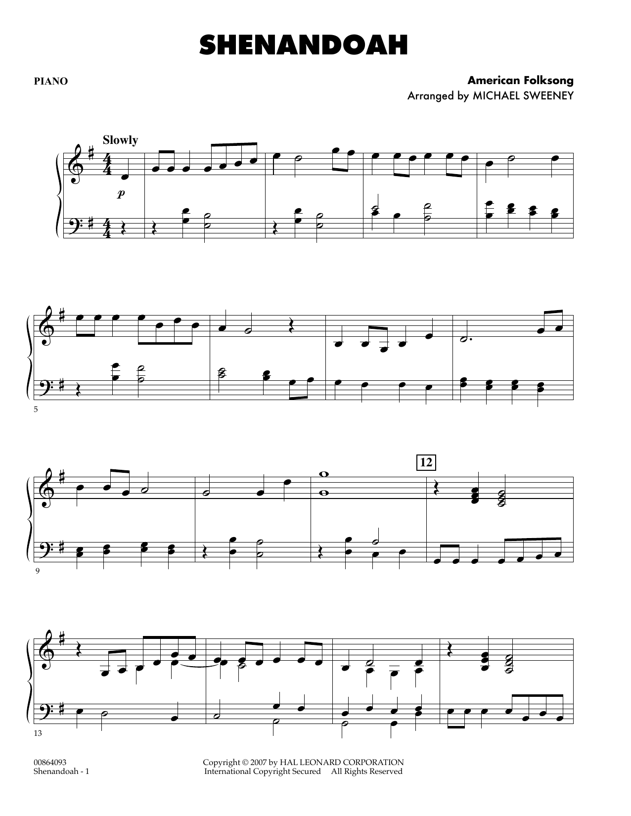 page one of Shenandoah - PianoASALTTEXT