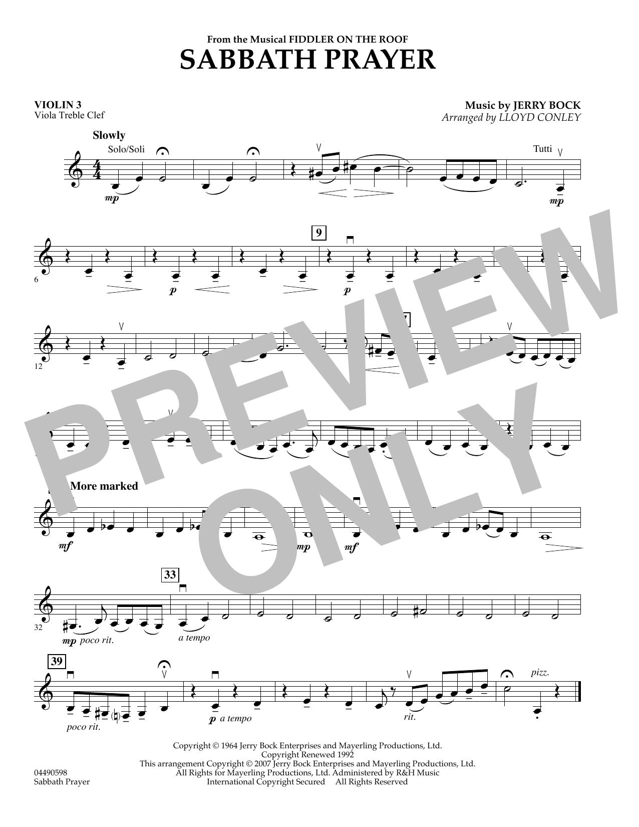 Sabbath Prayer - Violin 3 (Viola T.C.) (Orchestra)