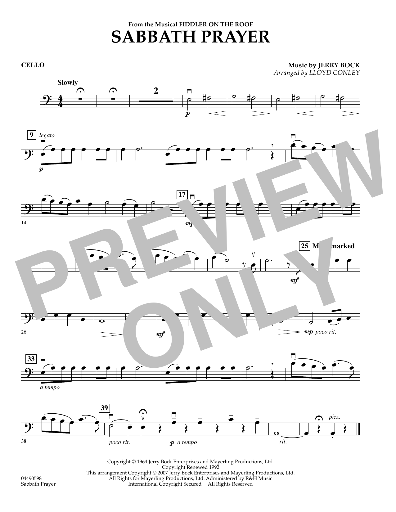 Sabbath Prayer - Cello (Orchestra)