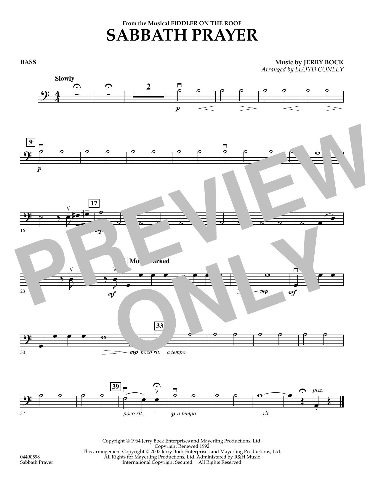 Sabbath Prayer - String Bass (Orchestra)